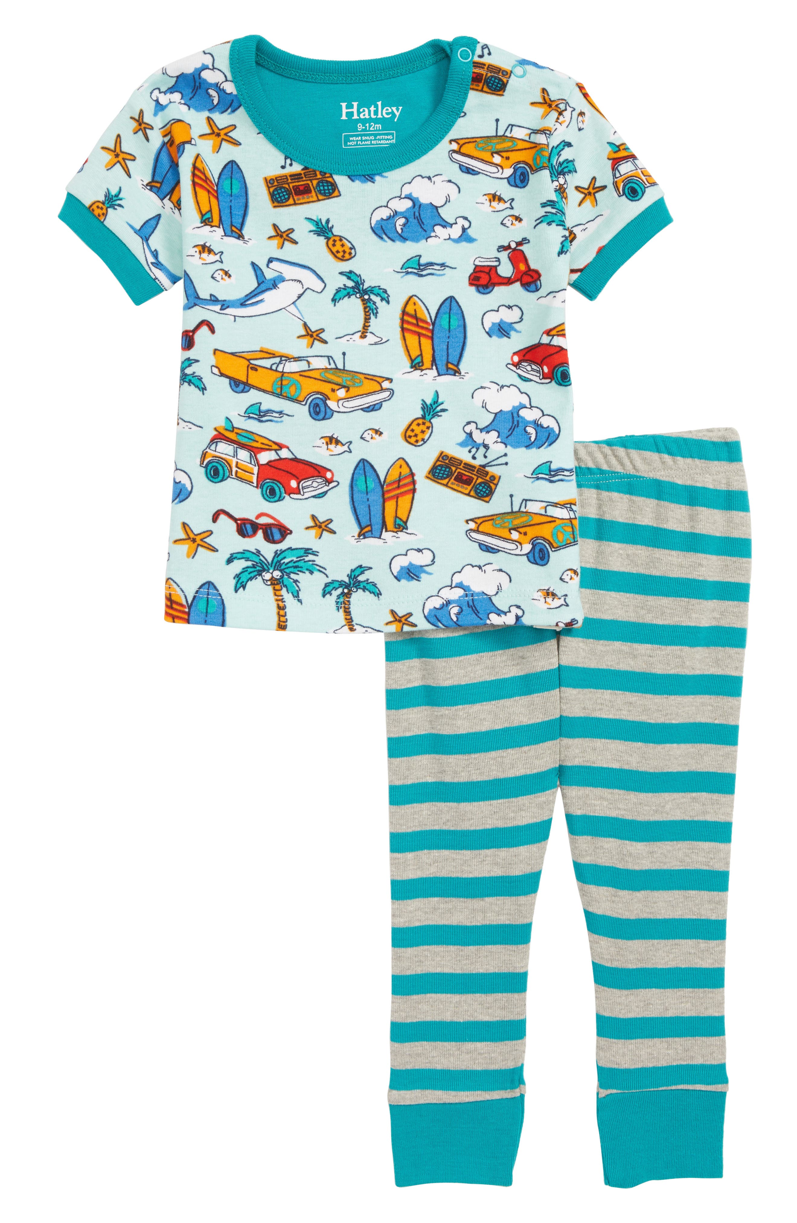 Organic Cotton Fitted Two-Piece Pajamas,                         Main,                         color, Surf Island