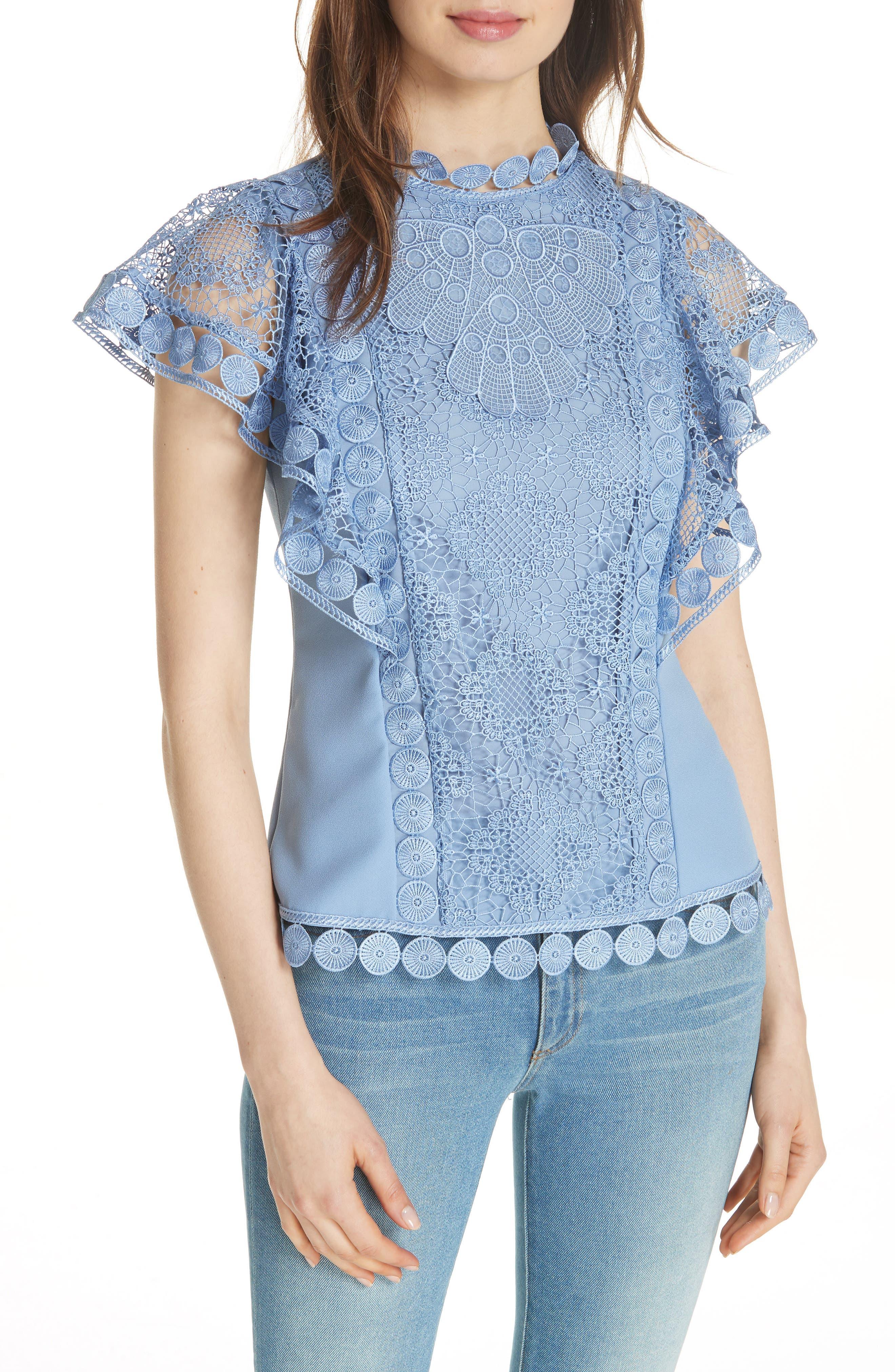 High Neck Lace Front Top,                         Main,                         color, Blue