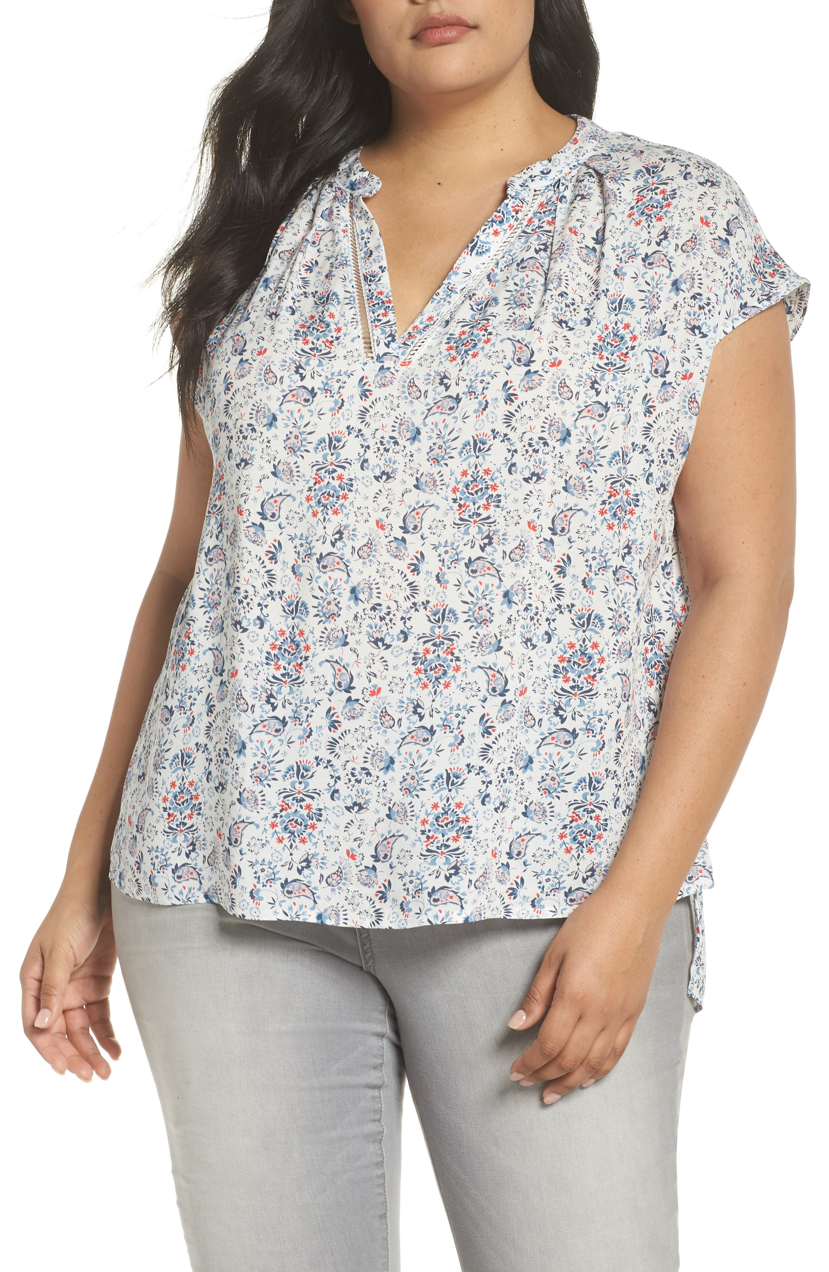 High/Low Woven Top,                             Main thumbnail 1, color,                             Ivory Sweet Ellie Prt