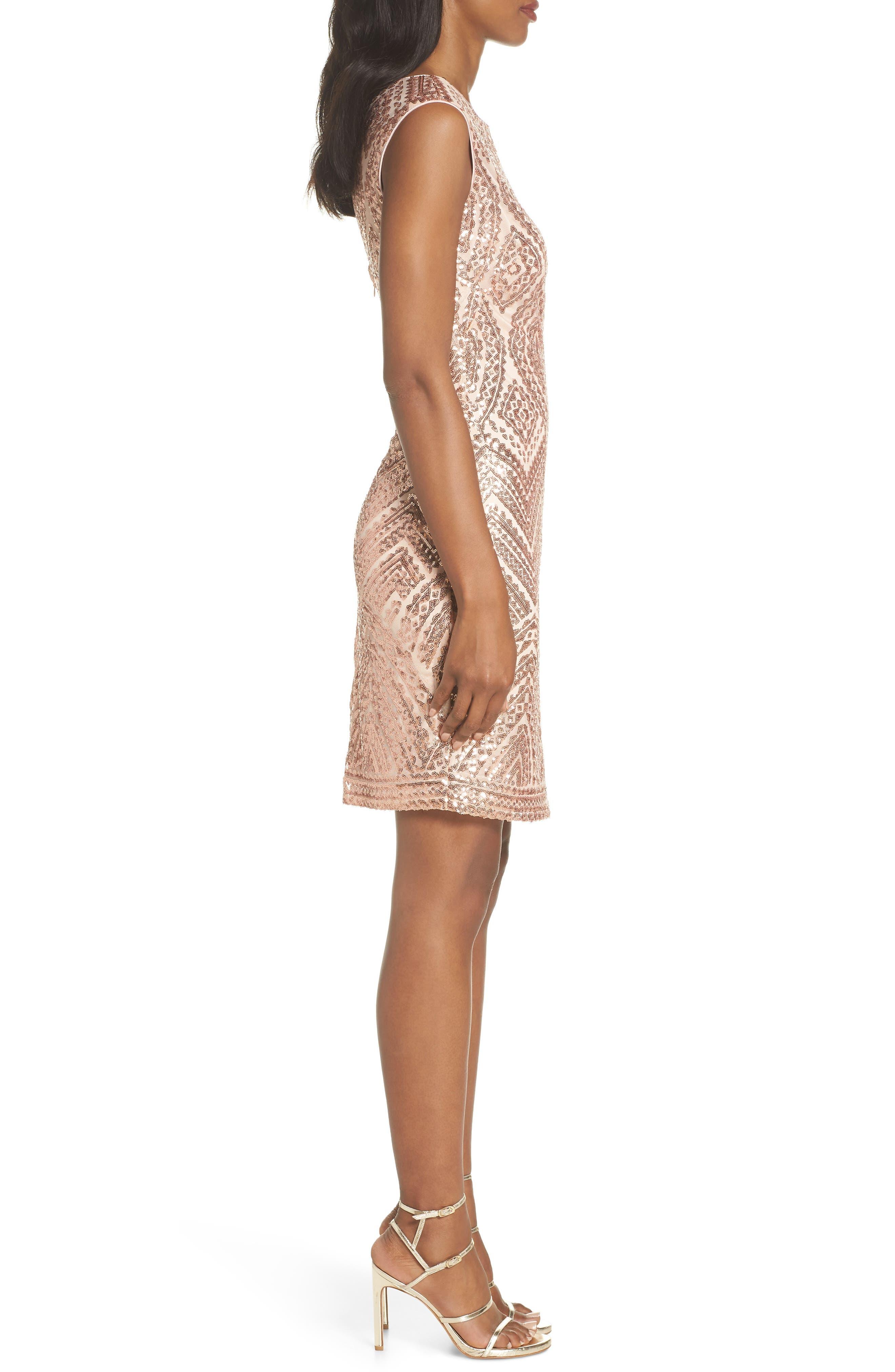 Sequin Embellished Cocktail Dress,                             Alternate thumbnail 3, color,                             Blush