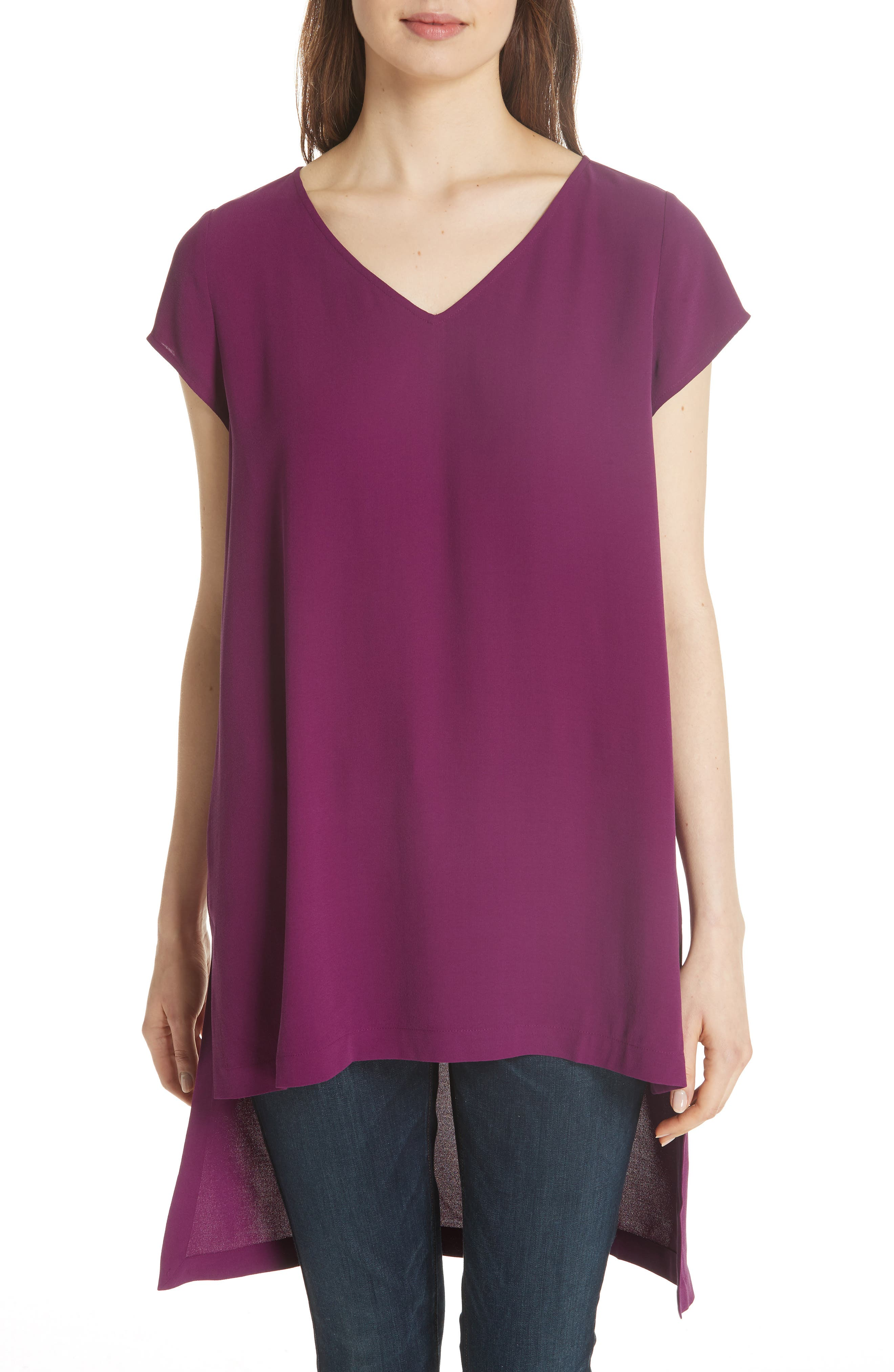 High/Low Silk Top,                         Main,                         color, Boysenberry