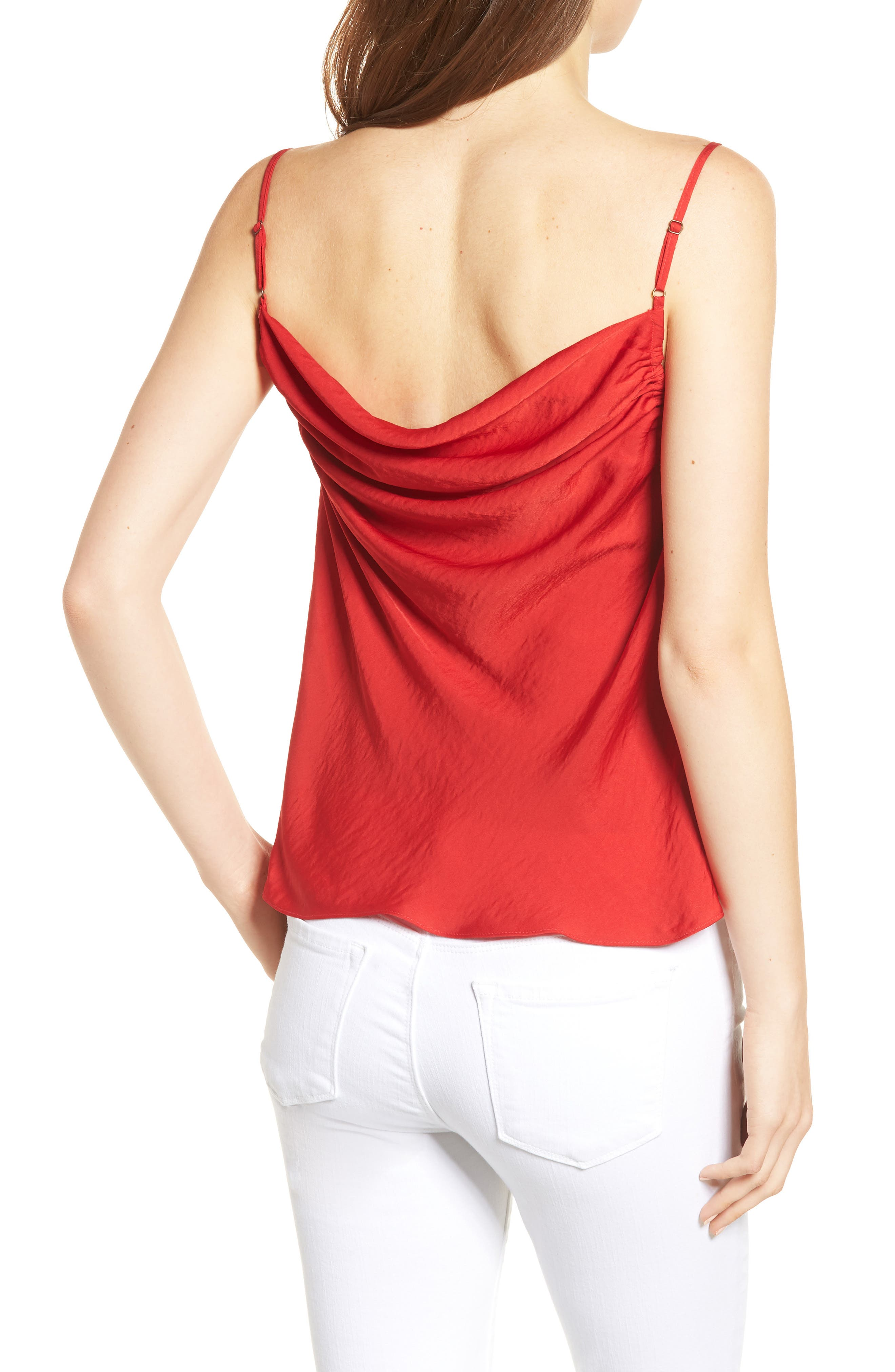 Cowl Neck Camisole,                             Alternate thumbnail 2, color,                             True Red