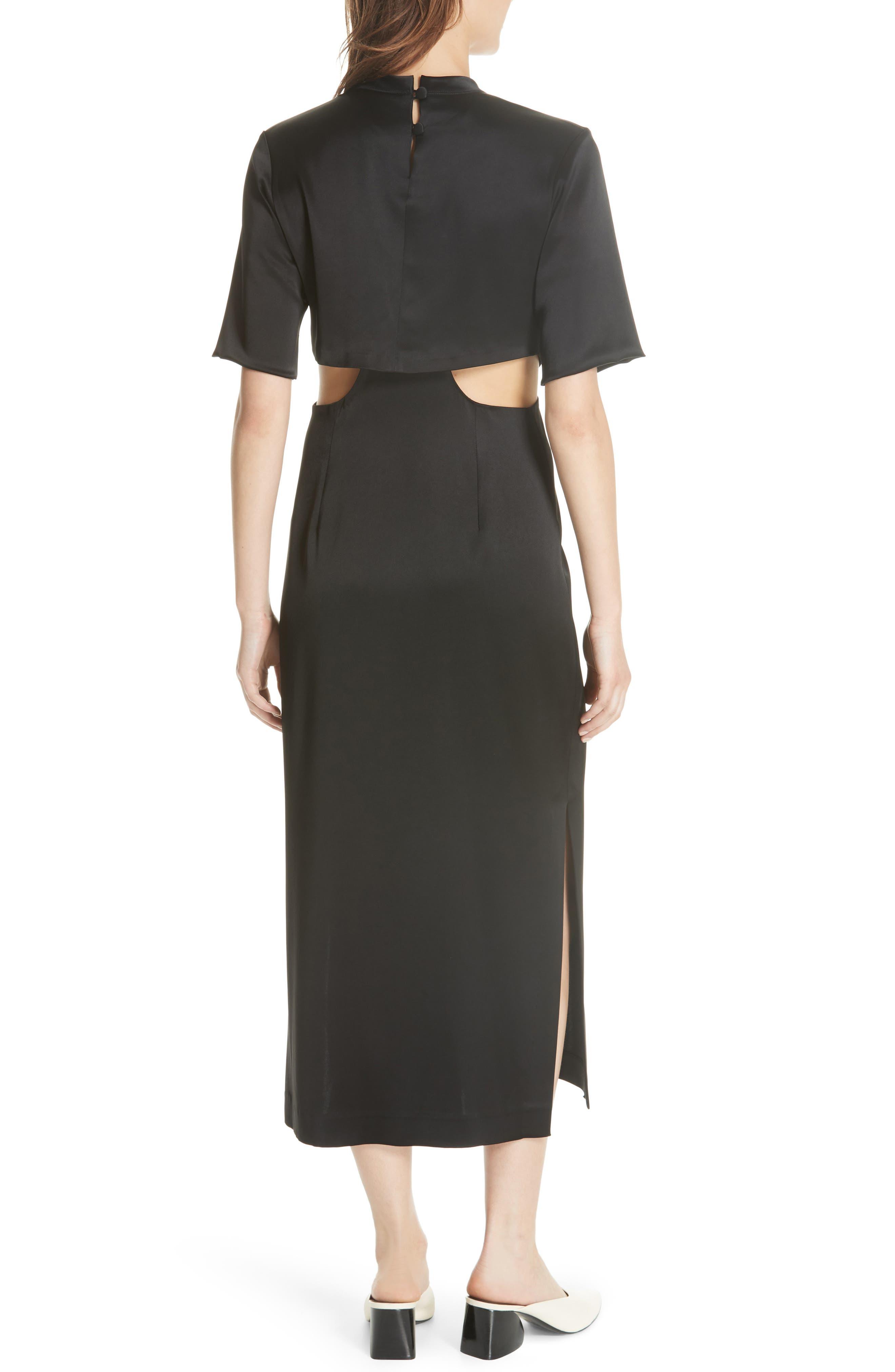 Bhumi Tie Waist Satin Dress,                             Alternate thumbnail 2, color,                             Black