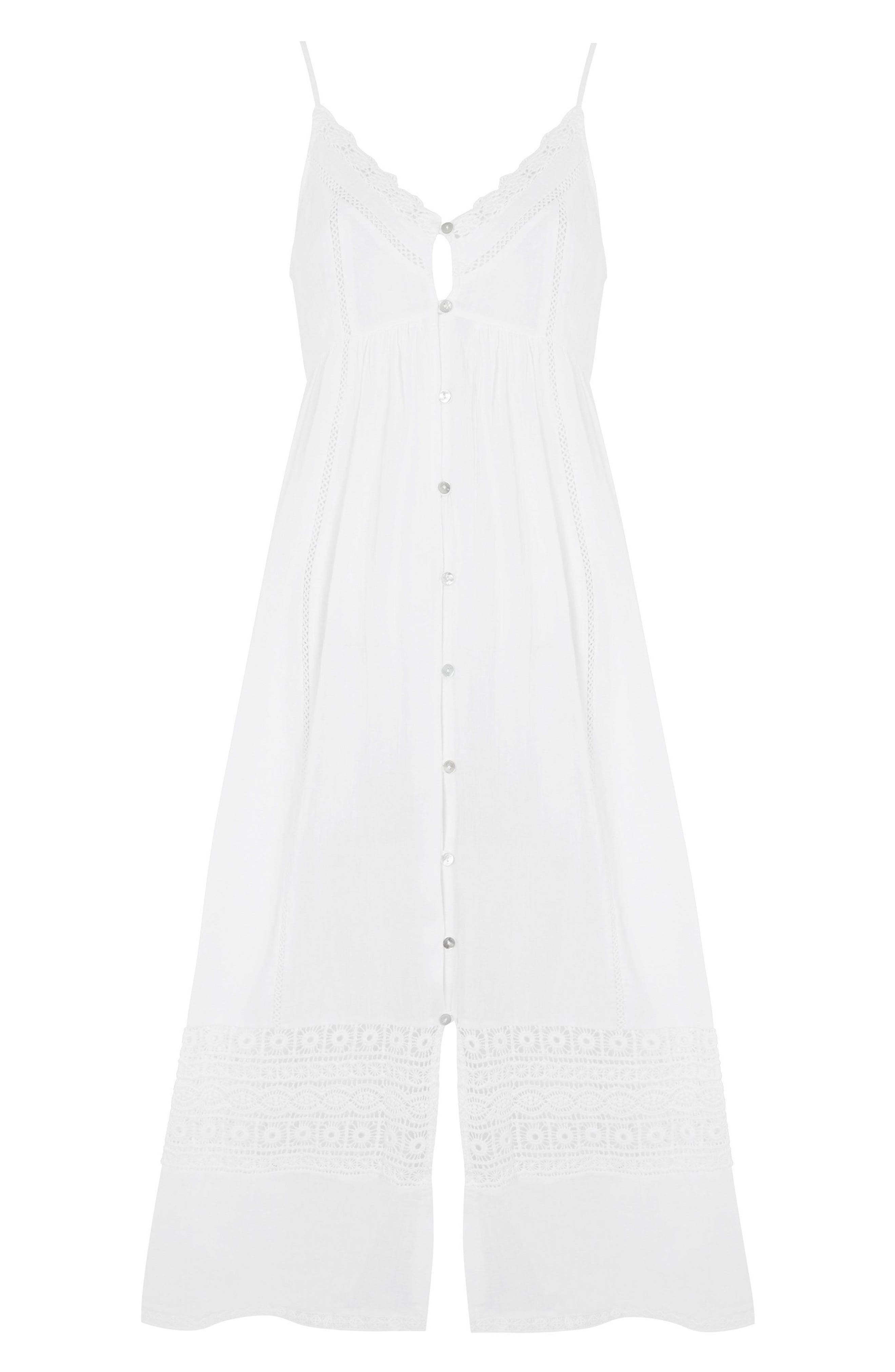 Lace Frill Midi Dress,                             Alternate thumbnail 3, color,                             White