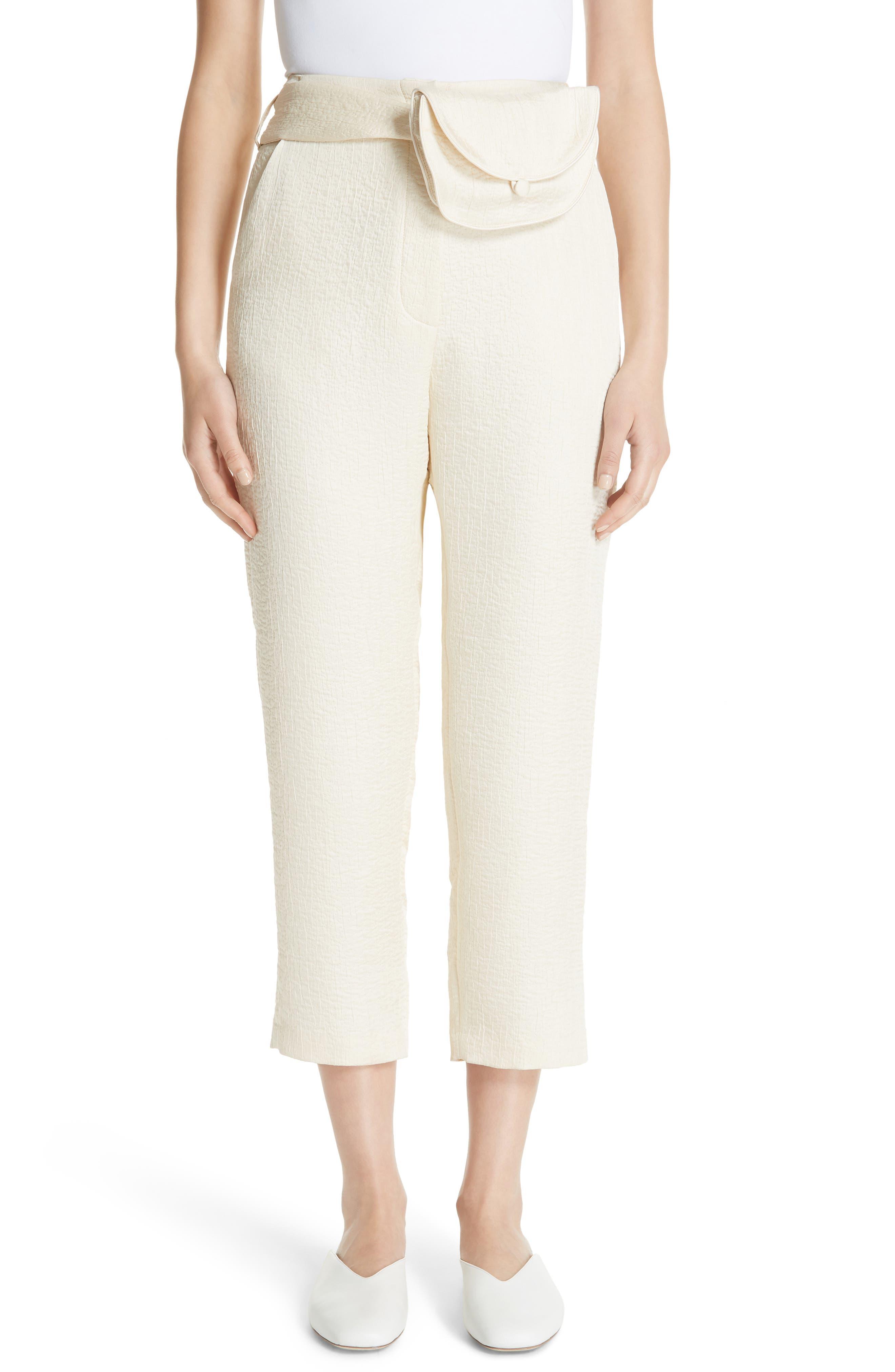 Raimo Belt Bag Crop Pants,                         Main,                         color, Creme