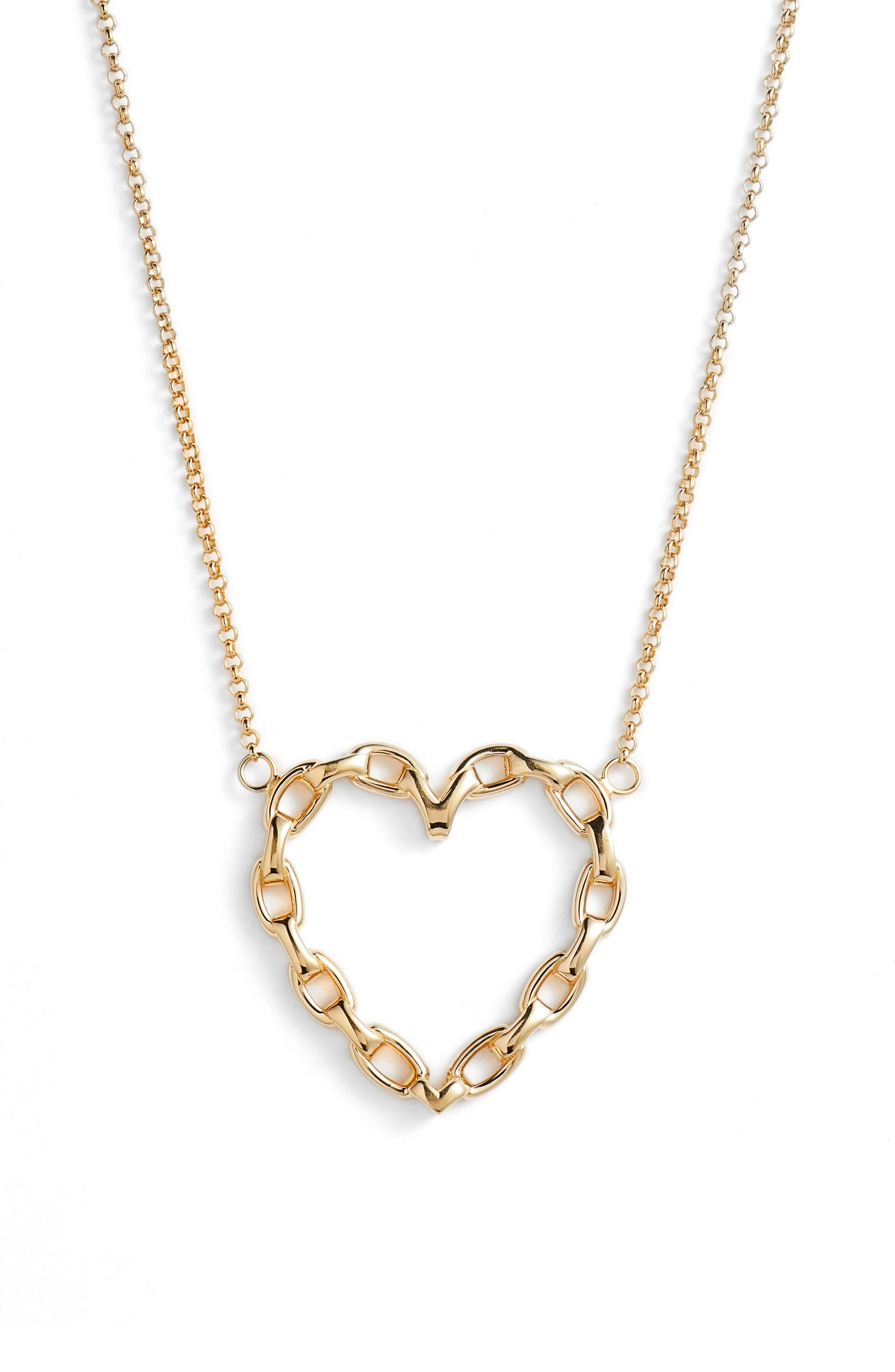 Fawn Link Heart Necklace,                         Main,                         color, Yellow Vermeil