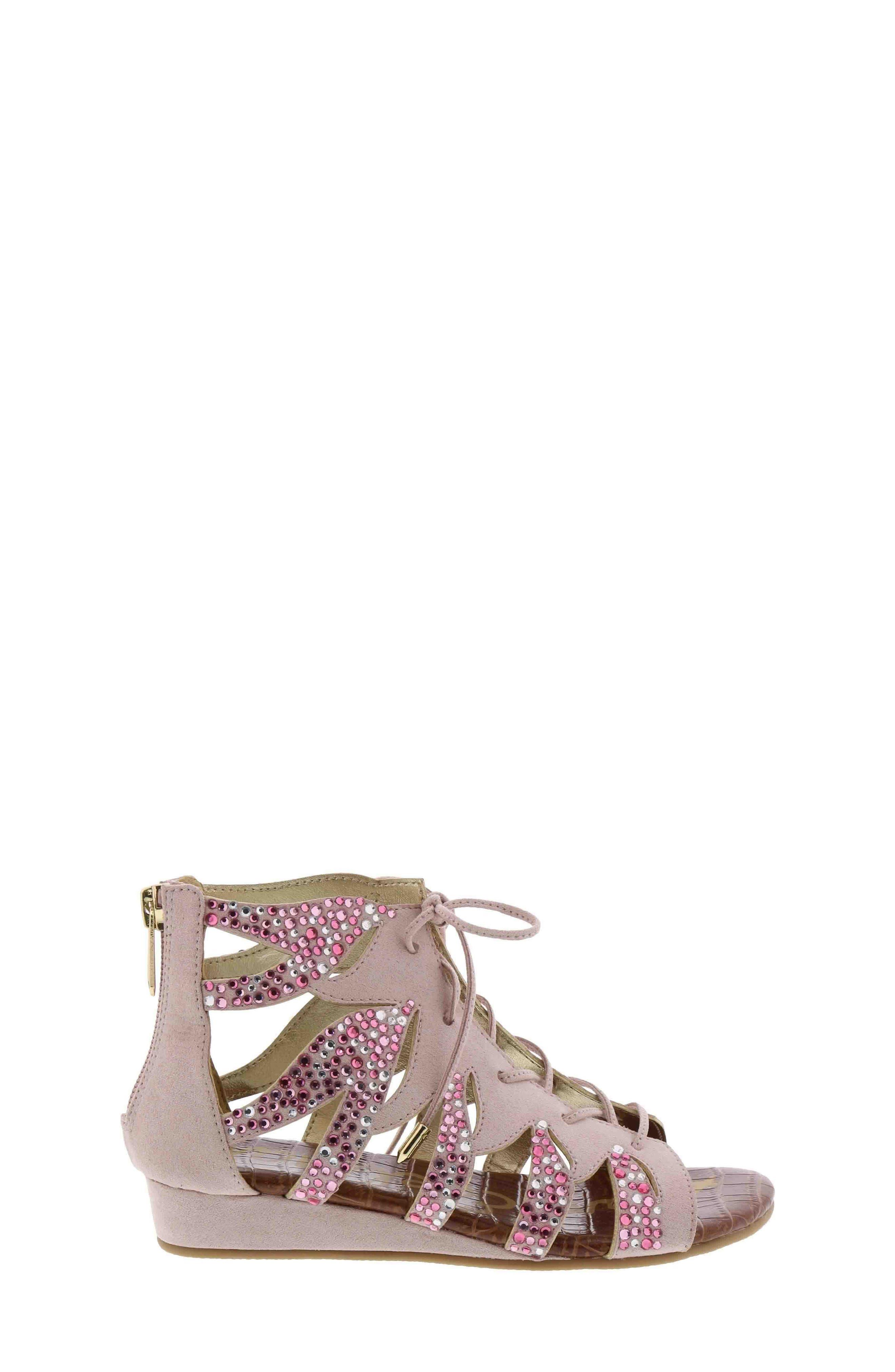Danica Crystal Embellished Sandal,                             Main thumbnail 1, color,                             Blush Faux Suede