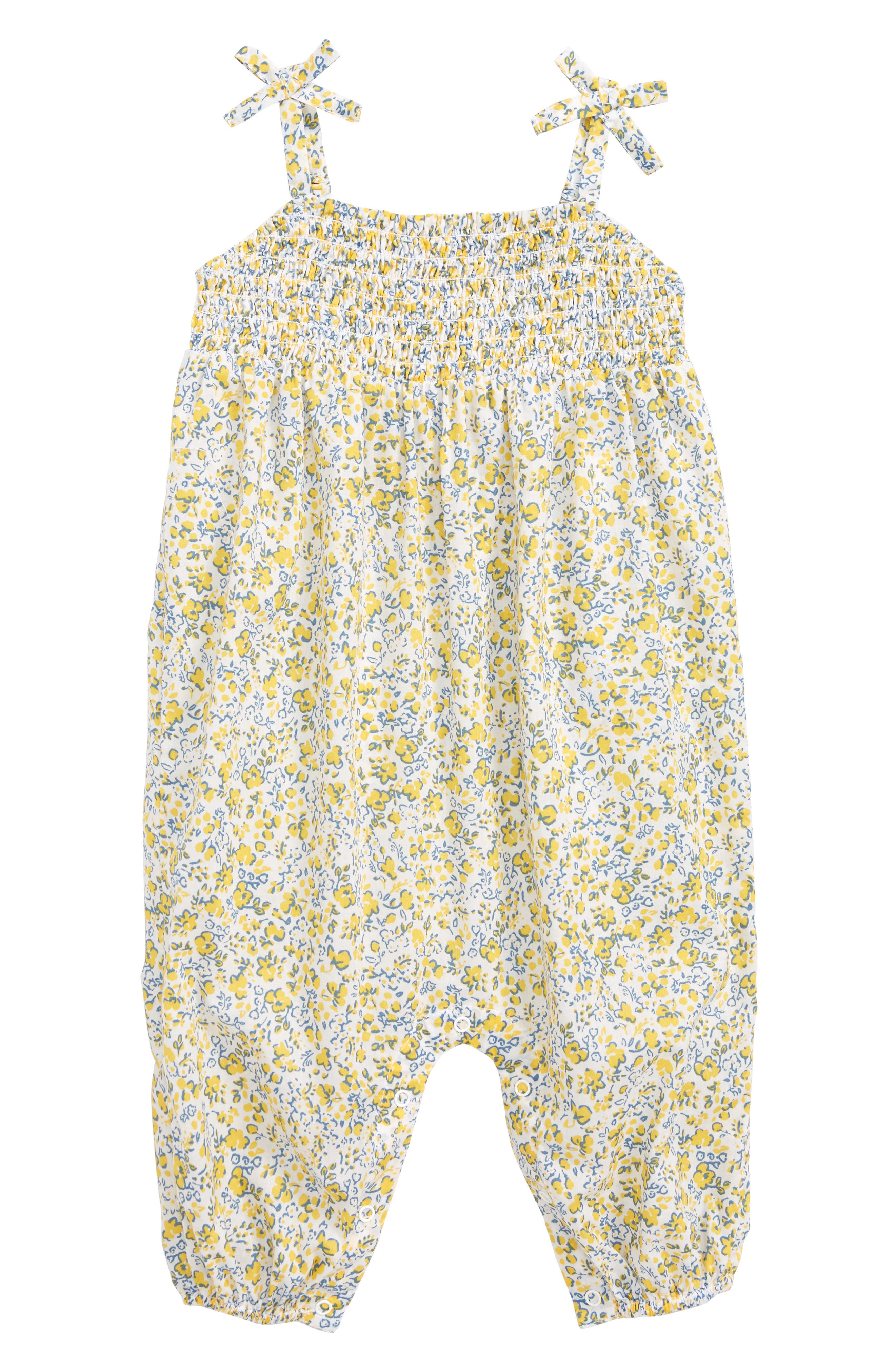 Ditzy Smock Romper,                             Main thumbnail 1, color,                             White- Yellow Tonal Ditsy