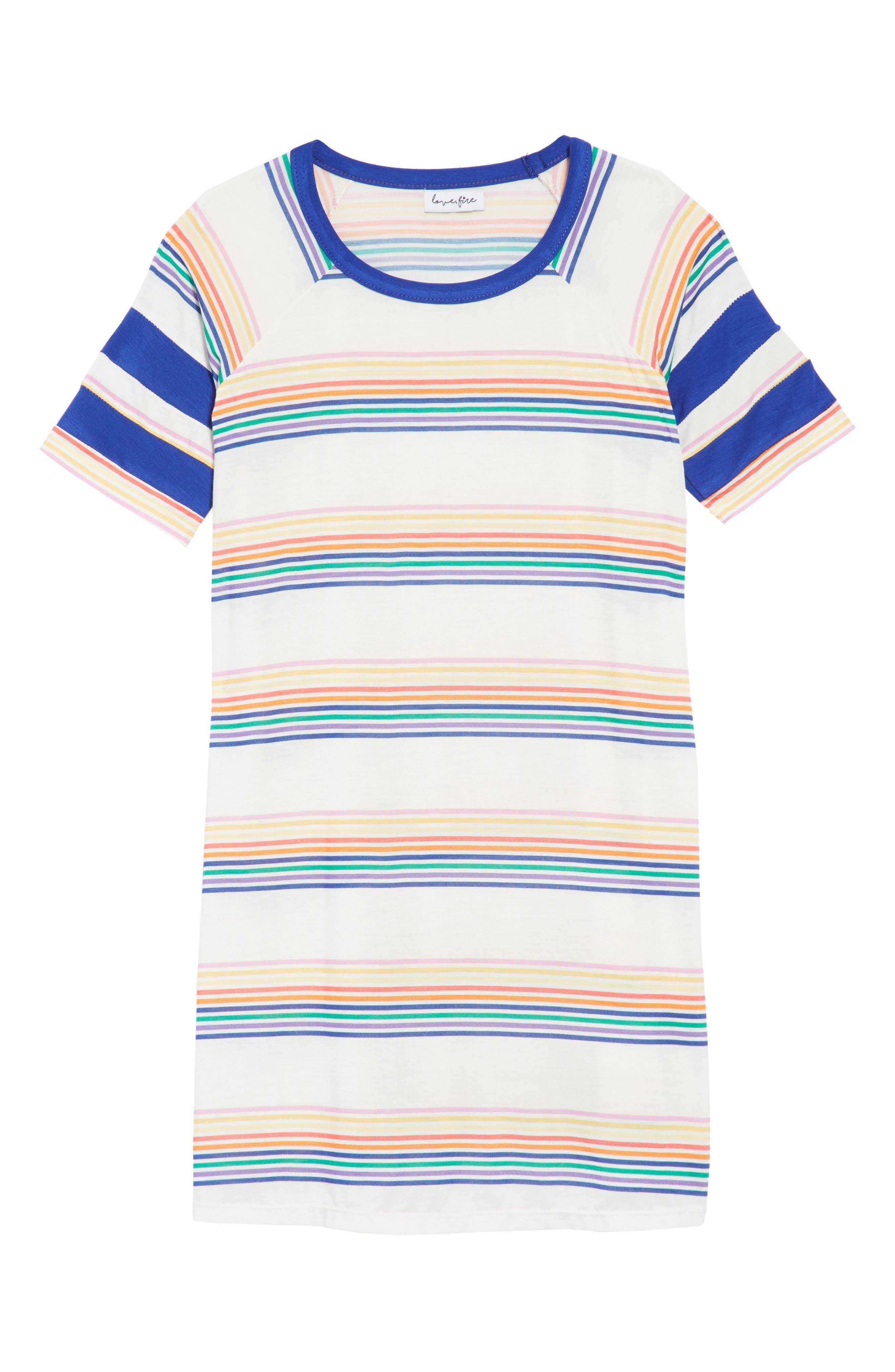 Mineral Wash T-Shirt Dress,                         Main,                         color, Surf The Web Stripe