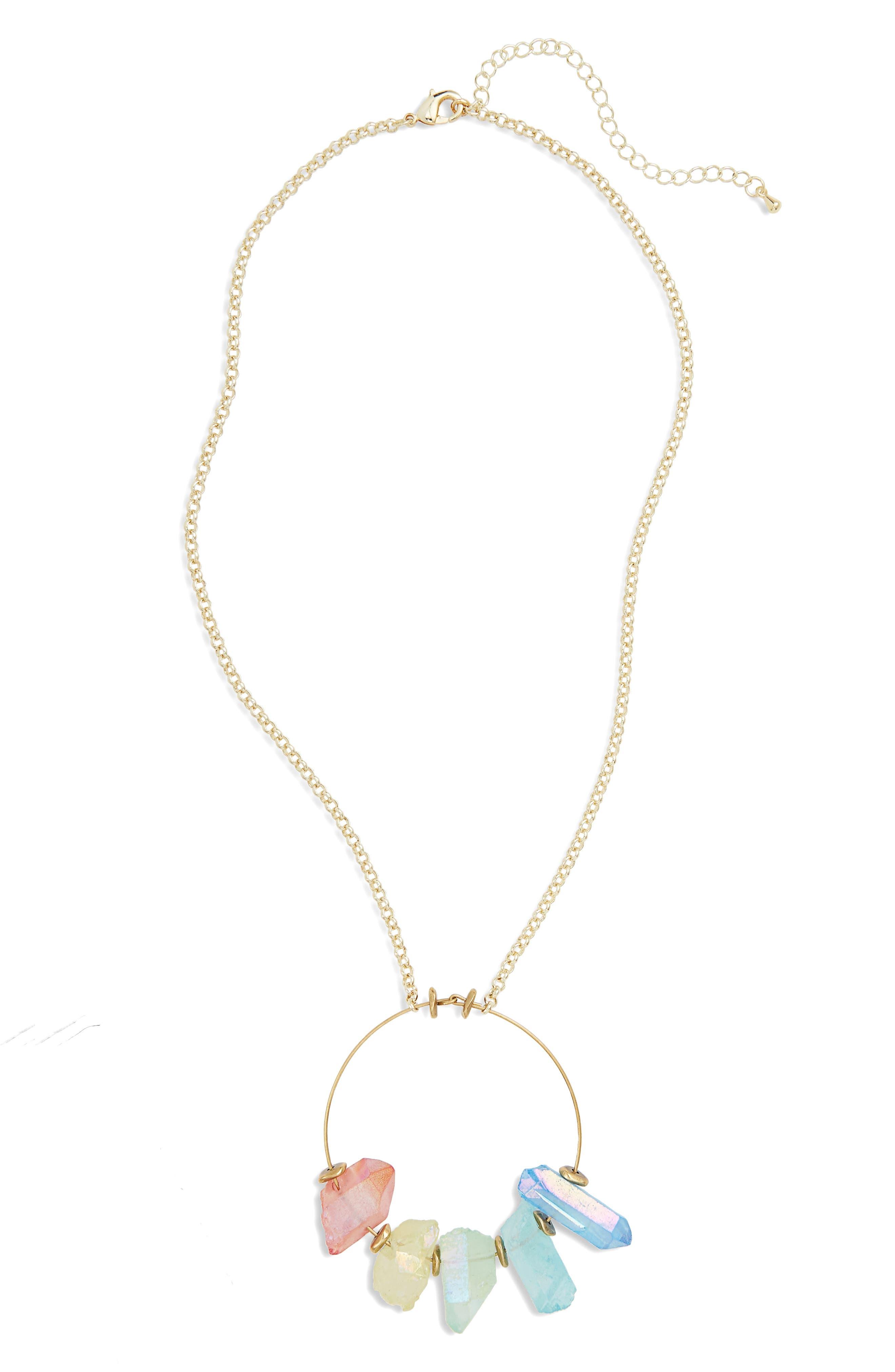 Crystal Hoop Pendant Necklace,                             Main thumbnail 1, color,                             Gold/ Rainbow