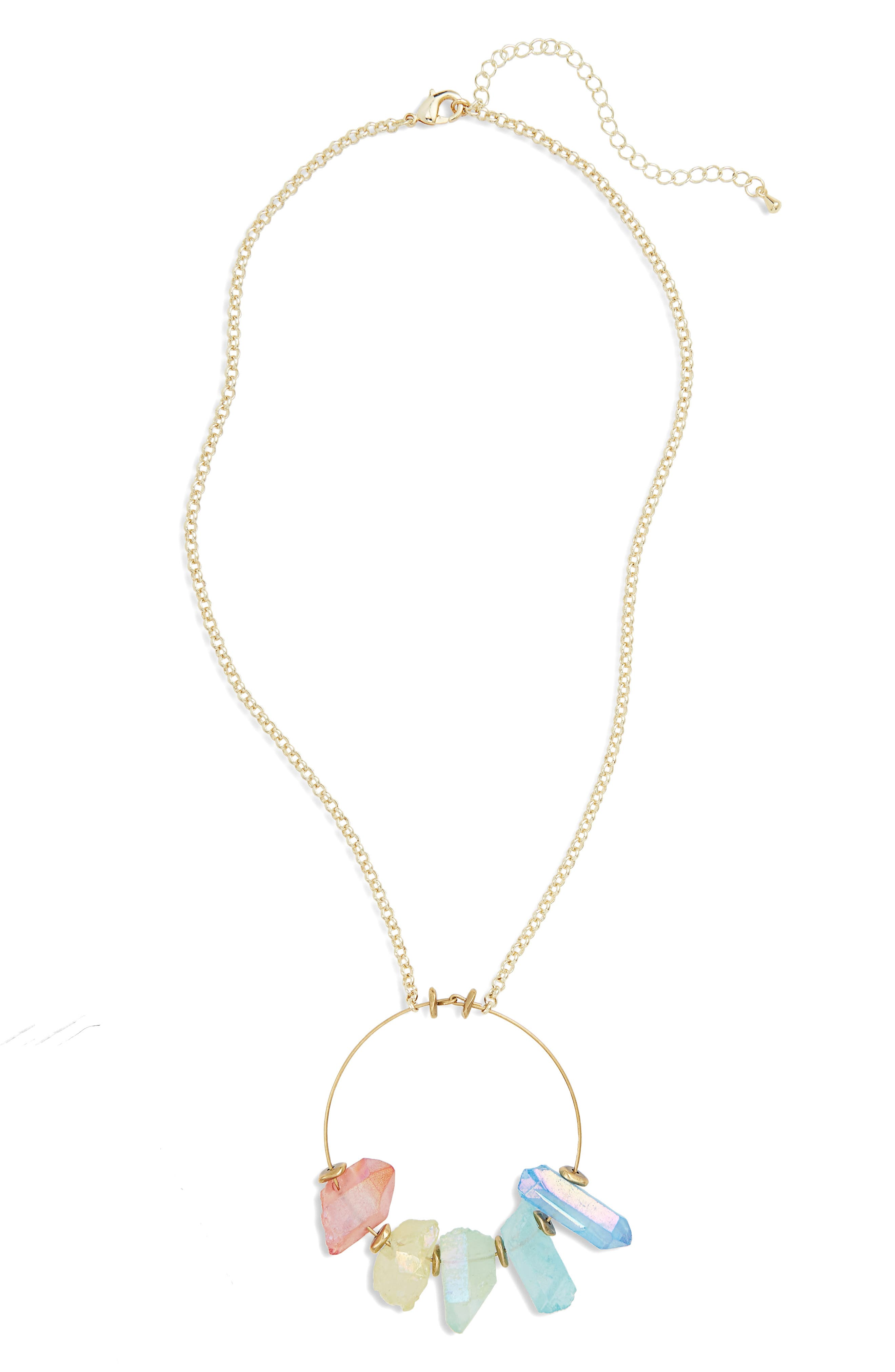 Crystal Hoop Pendant Necklace,                         Main,                         color, Gold/ Rainbow