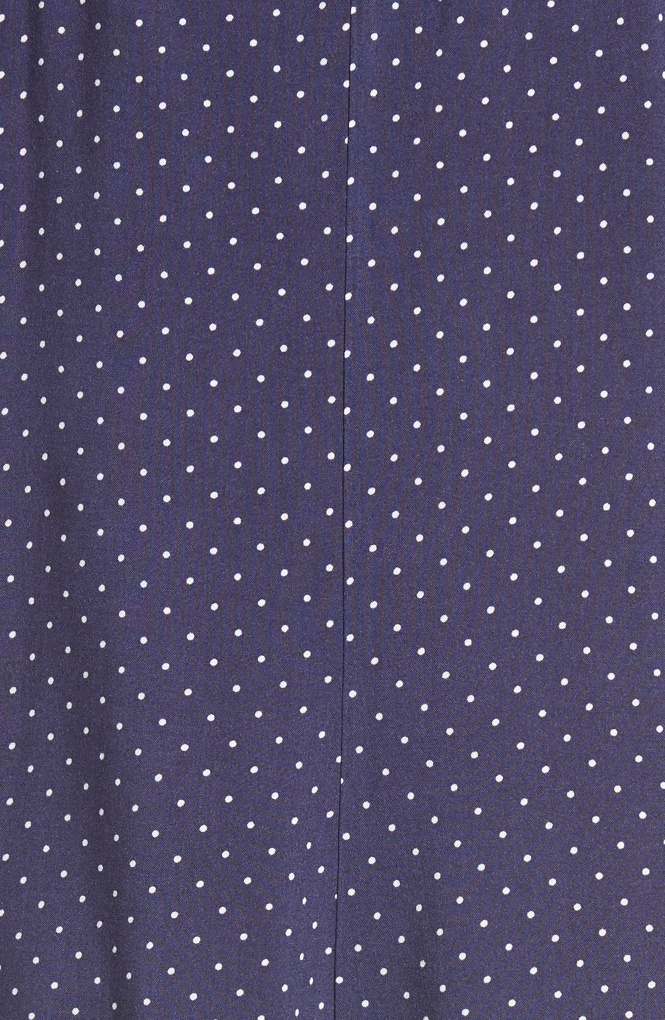 Button Front Dress,                             Alternate thumbnail 6, color,                             Navy Polka Dot