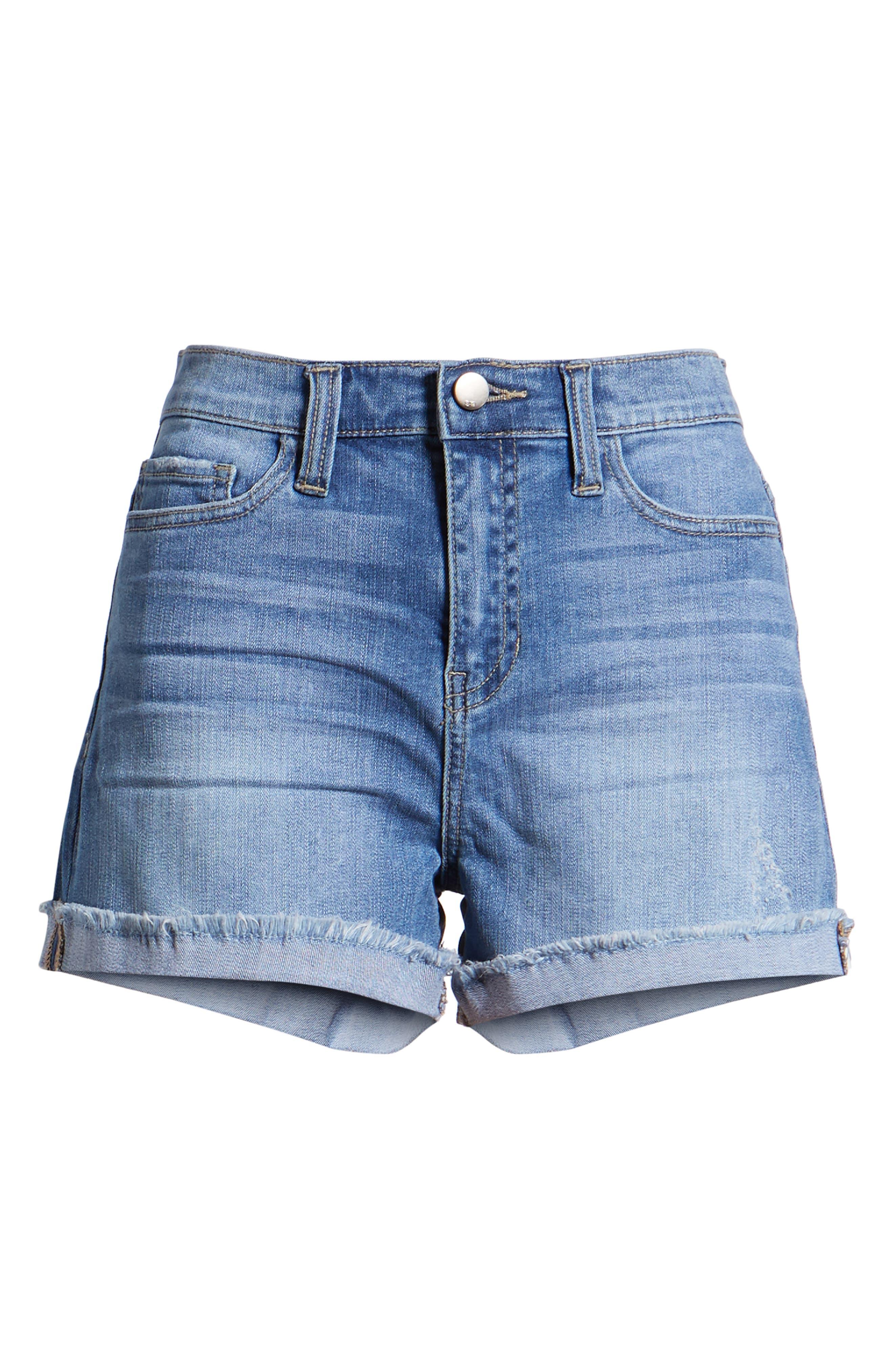 Cuffed Boyfriend Denim Shorts,                             Alternate thumbnail 7, color,                             Med Wash