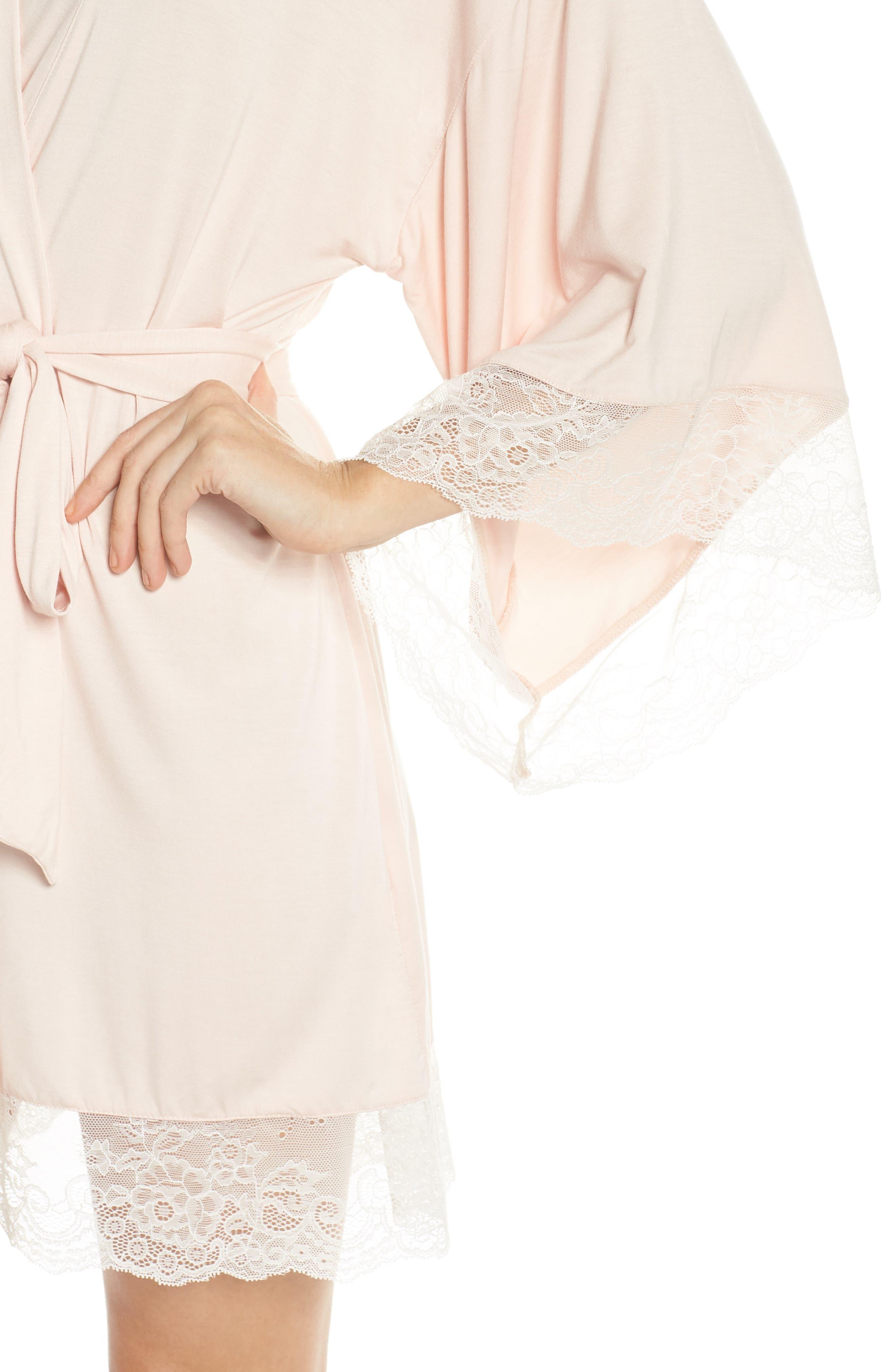 Serafina Kimono Robe,                             Alternate thumbnail 4, color,                             Pink