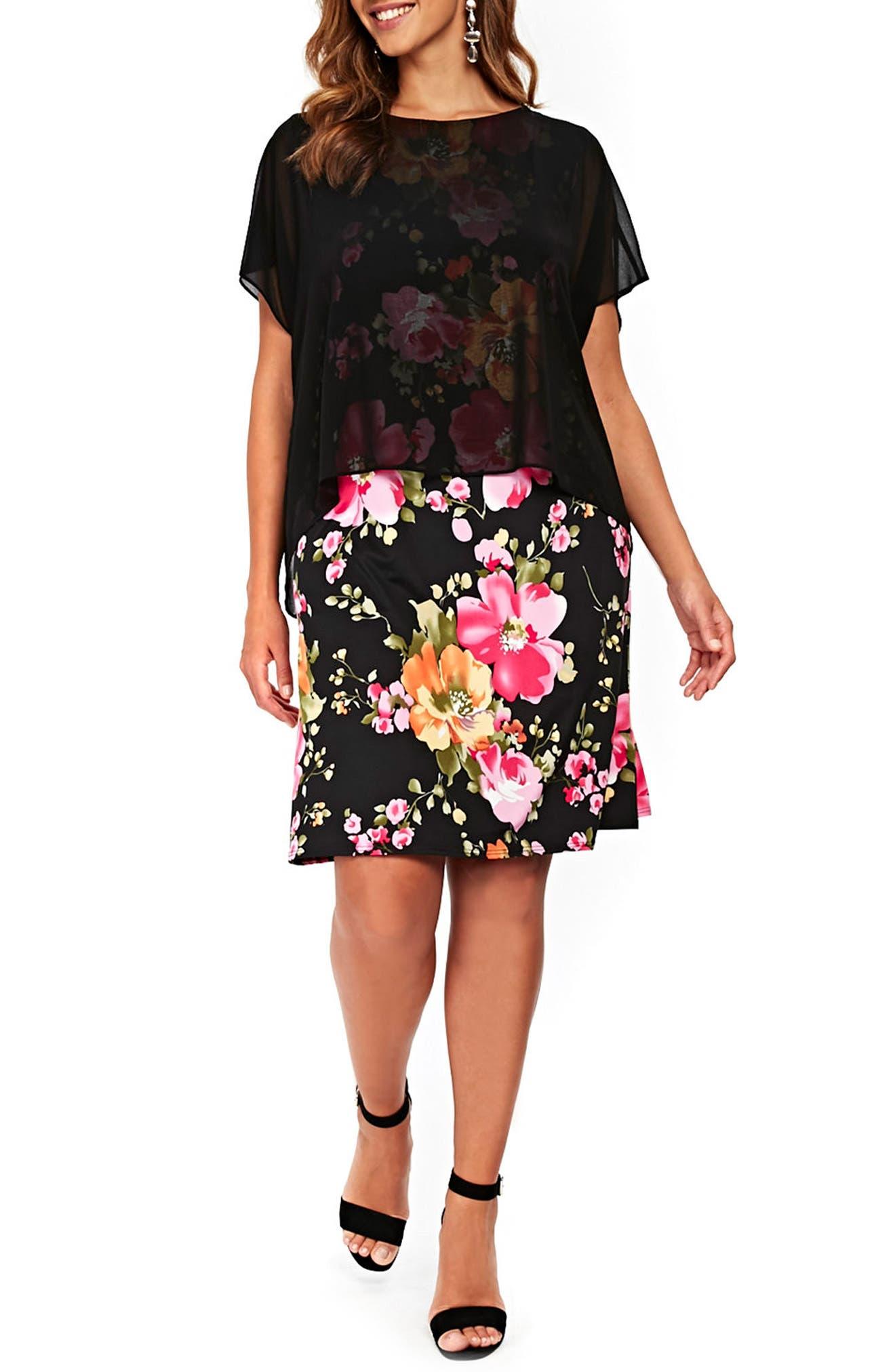 Floral Overlay Shift Dress,                             Main thumbnail 1, color,                             Black