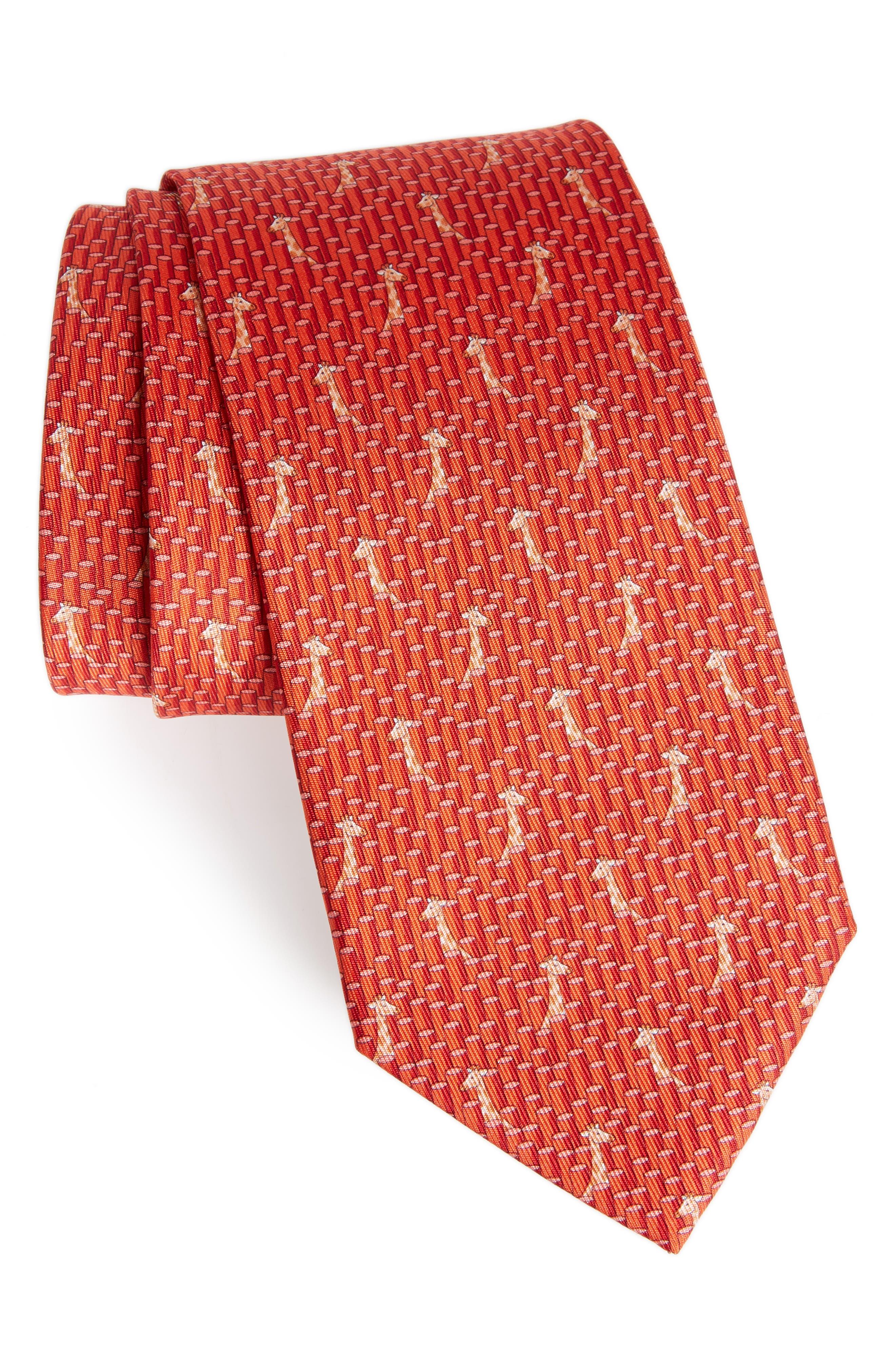 Giraffe Print Silk Tie,                             Main thumbnail 1, color,                             Red