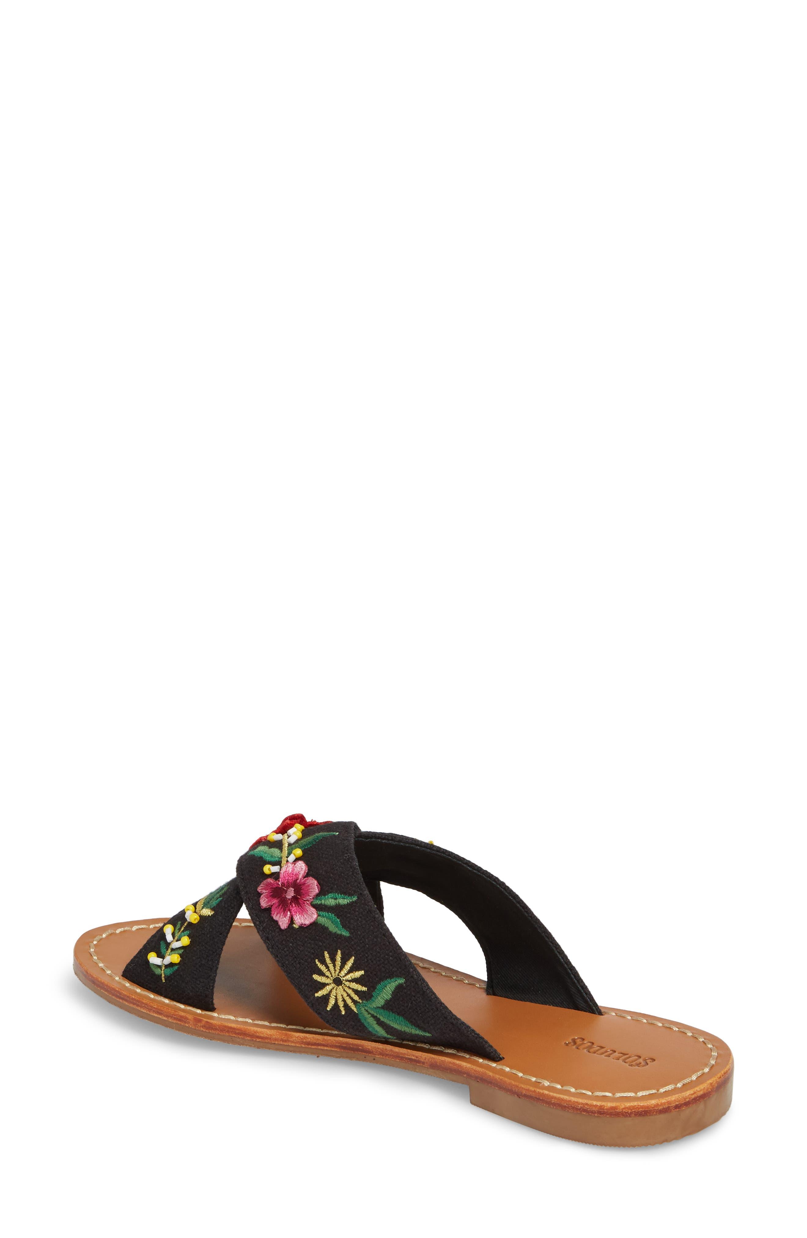 Embellished Floral Sandal,                             Alternate thumbnail 2, color,                             Black