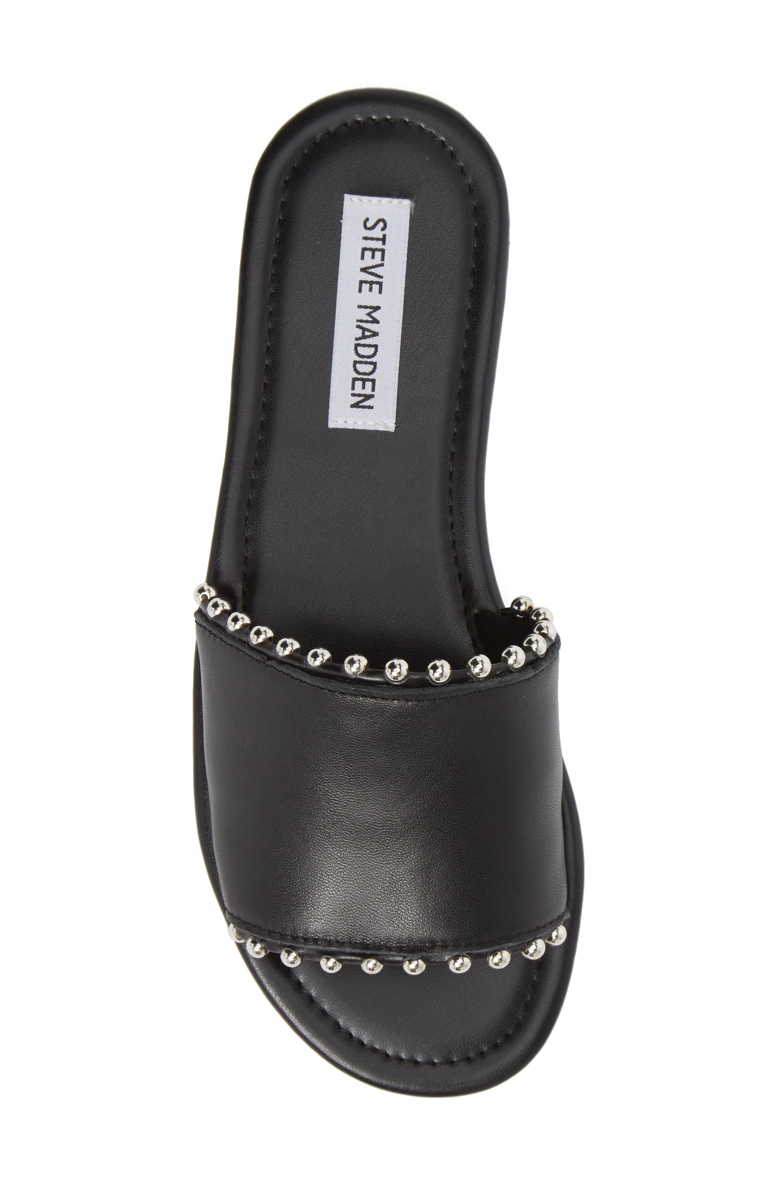Brew Slide Sandal,                             Alternate thumbnail 5, color,                             Black Leather