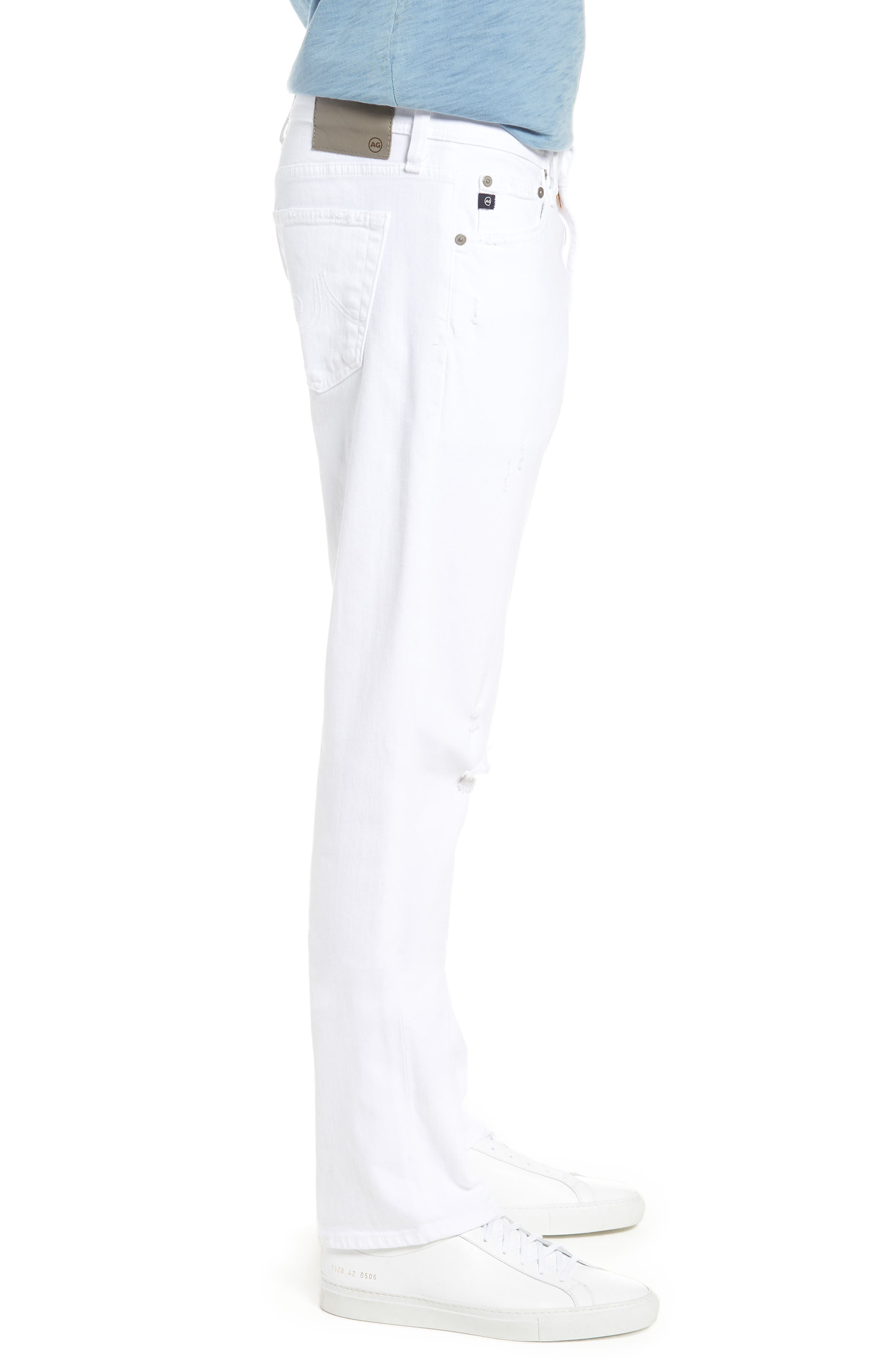 Everett Slim Straight Leg Jeans,                             Alternate thumbnail 3, color,                             White Crash