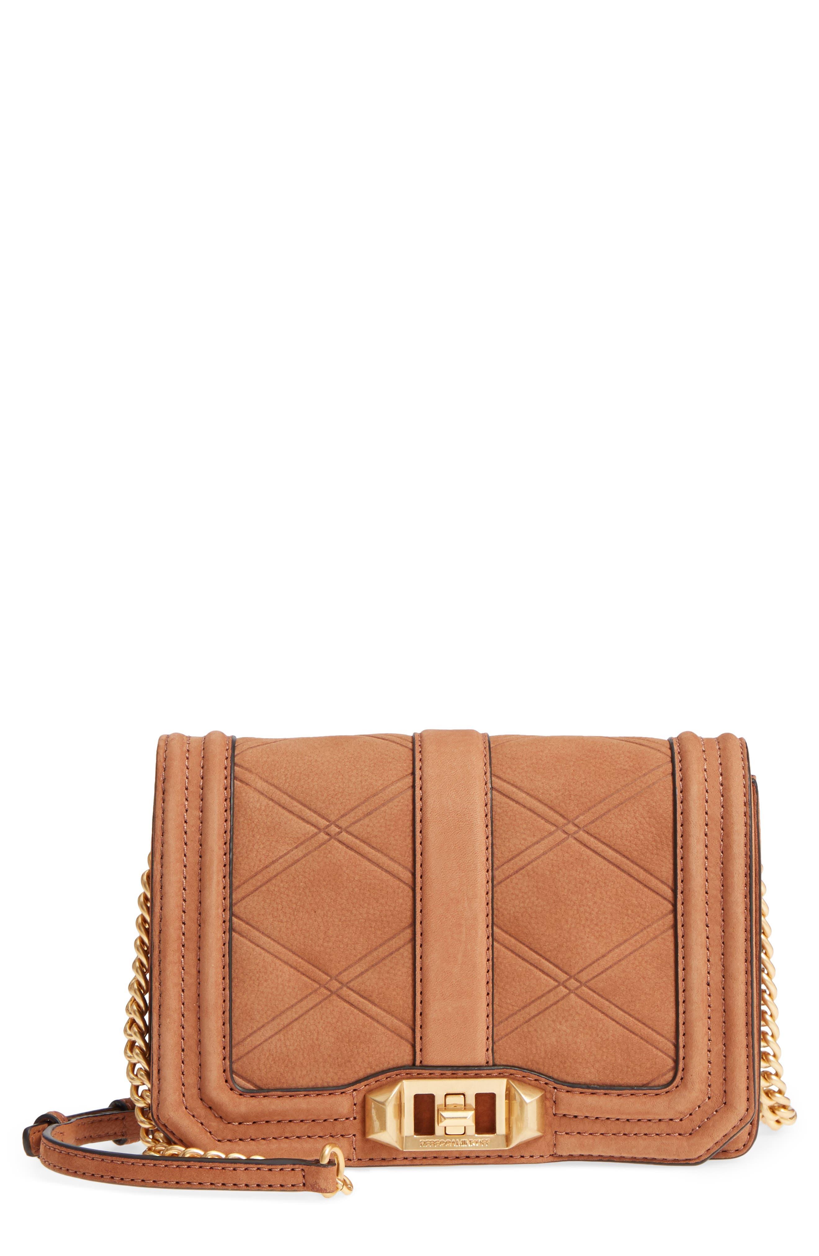 Small Love Nubuck Leather Crossbody Bag,                             Main thumbnail 1, color,                             Almond