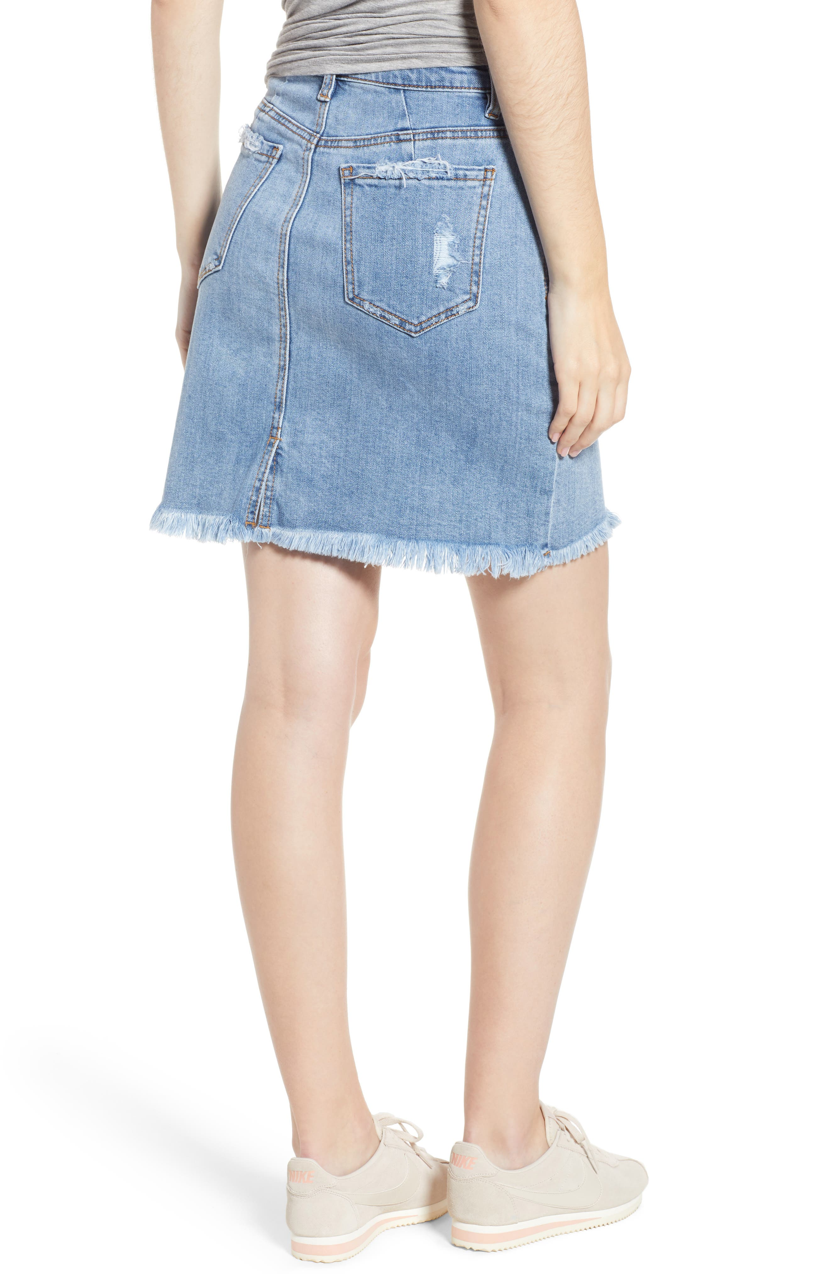 Distressed Denim Skirt,                             Alternate thumbnail 2, color,                             Light Wash