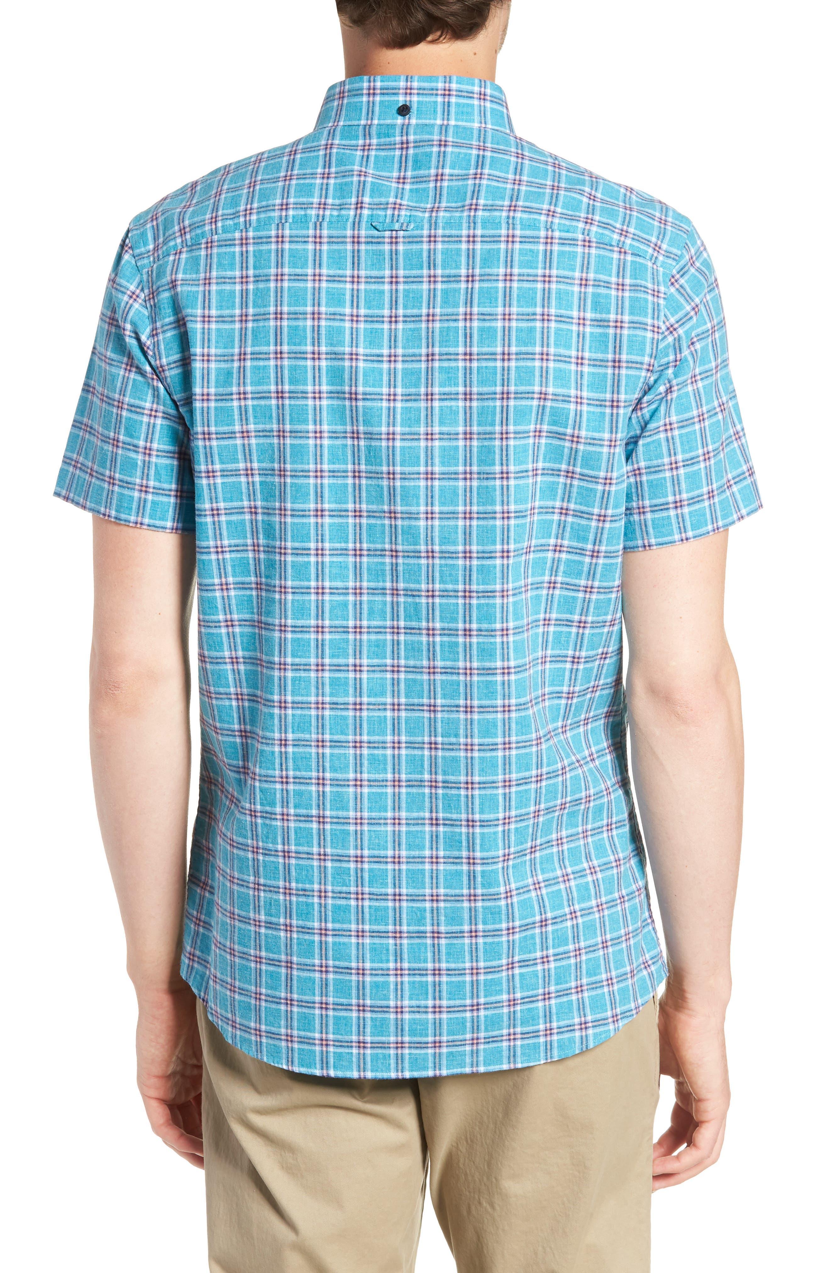 Ivy Trim Fit Plaid Cotton & Linen Sport Shirt,                             Alternate thumbnail 3, color,                             Teal Mosaic Linen Check