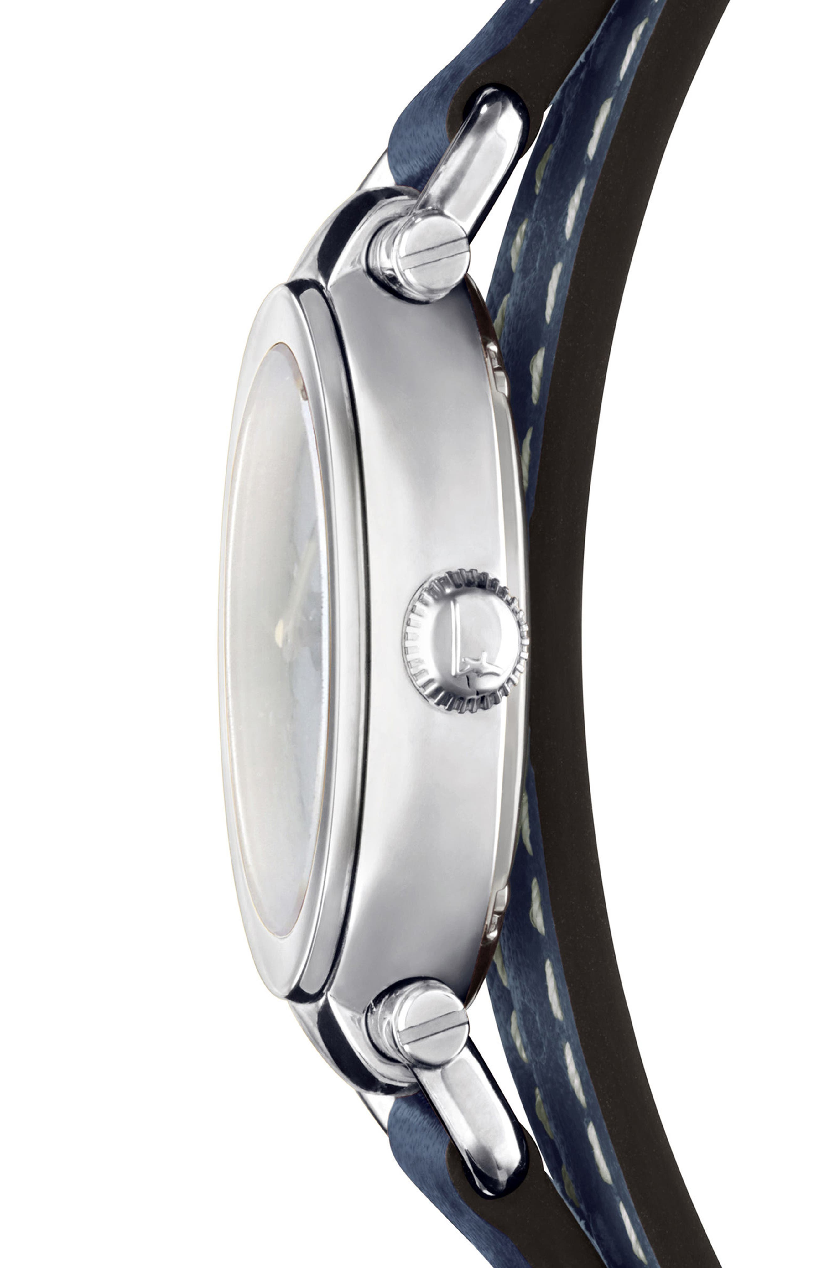 Gancino Leather Strap Watch, 26mm,                             Alternate thumbnail 3, color,                             Blue/ Silver