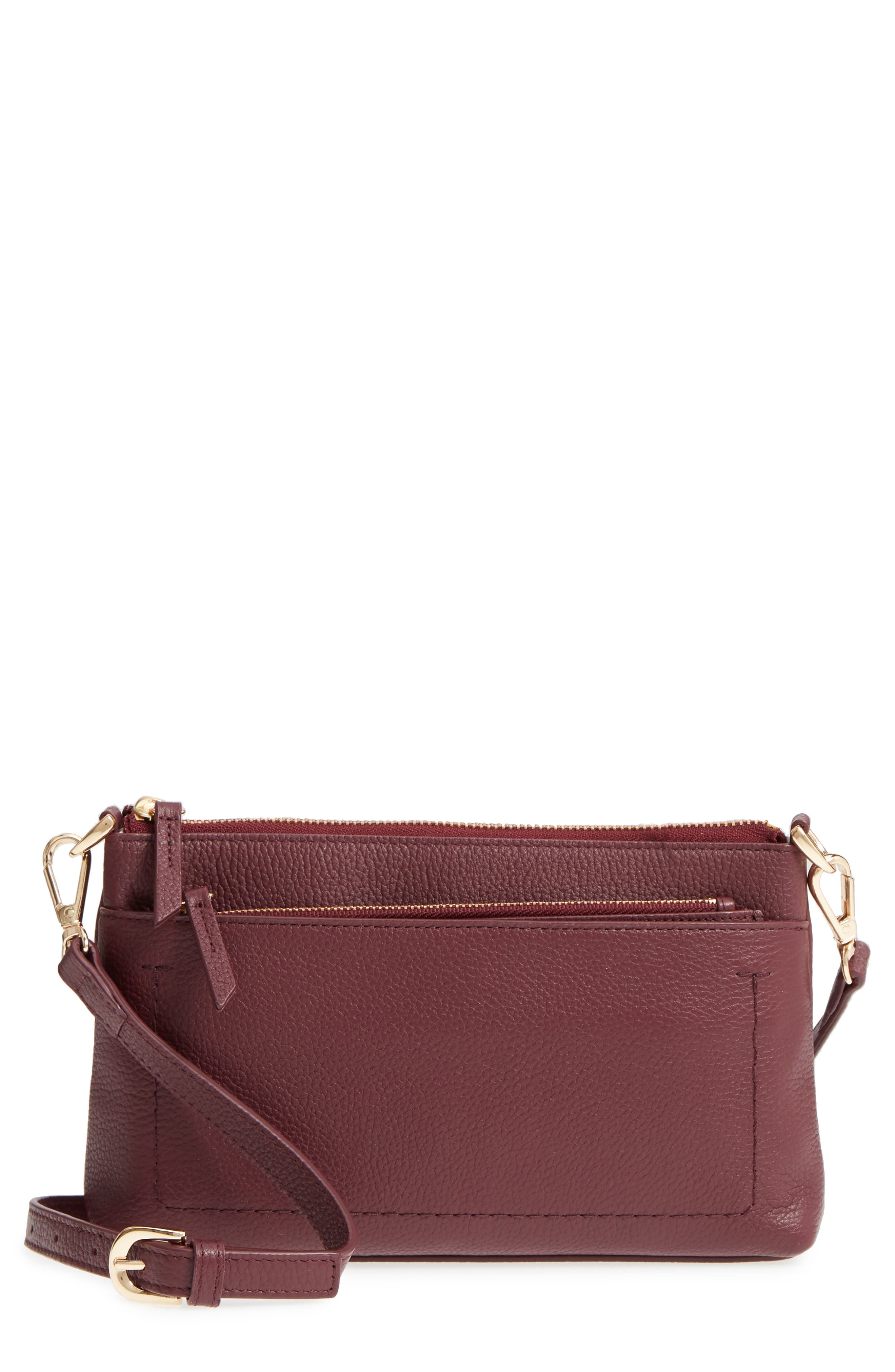 Brixton Convertible Leather Crossbody Bag with Pop-Out Card Holder,                             Main thumbnail 1, color,                             Burgundy London