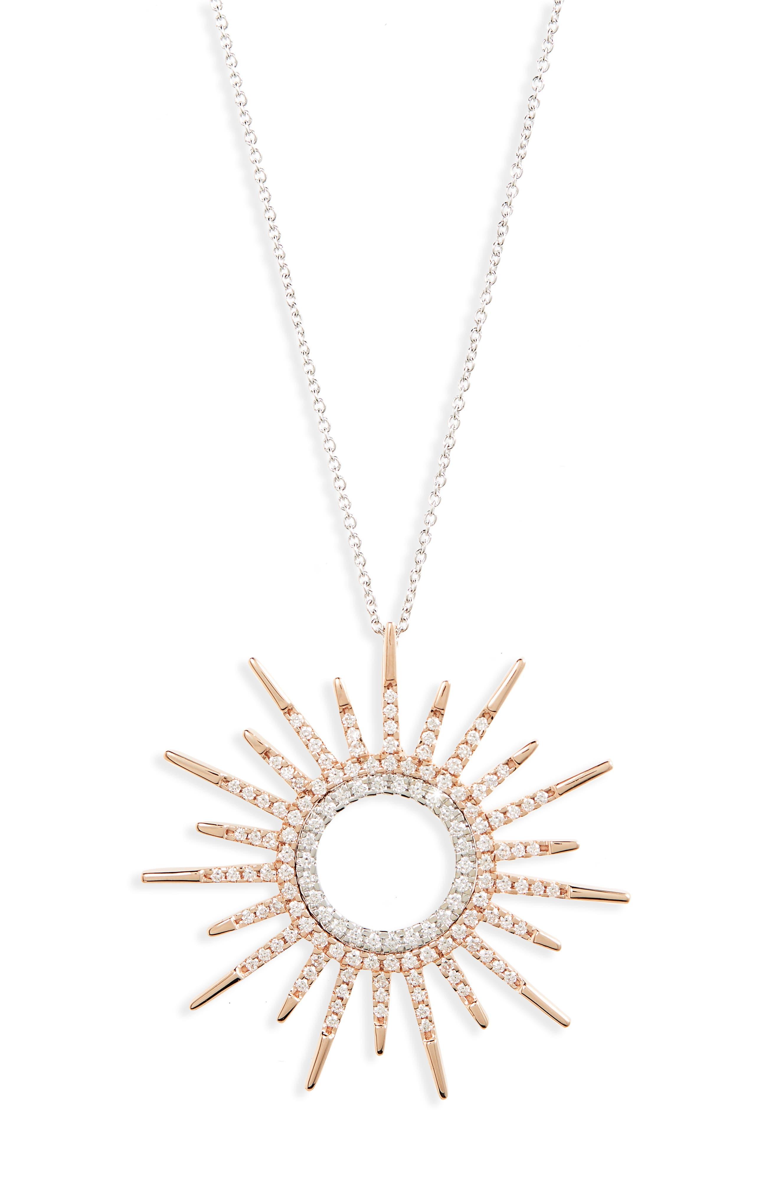 Diamond Sunburst Pendant Necklace,                             Main thumbnail 1, color,                             Rose Gold