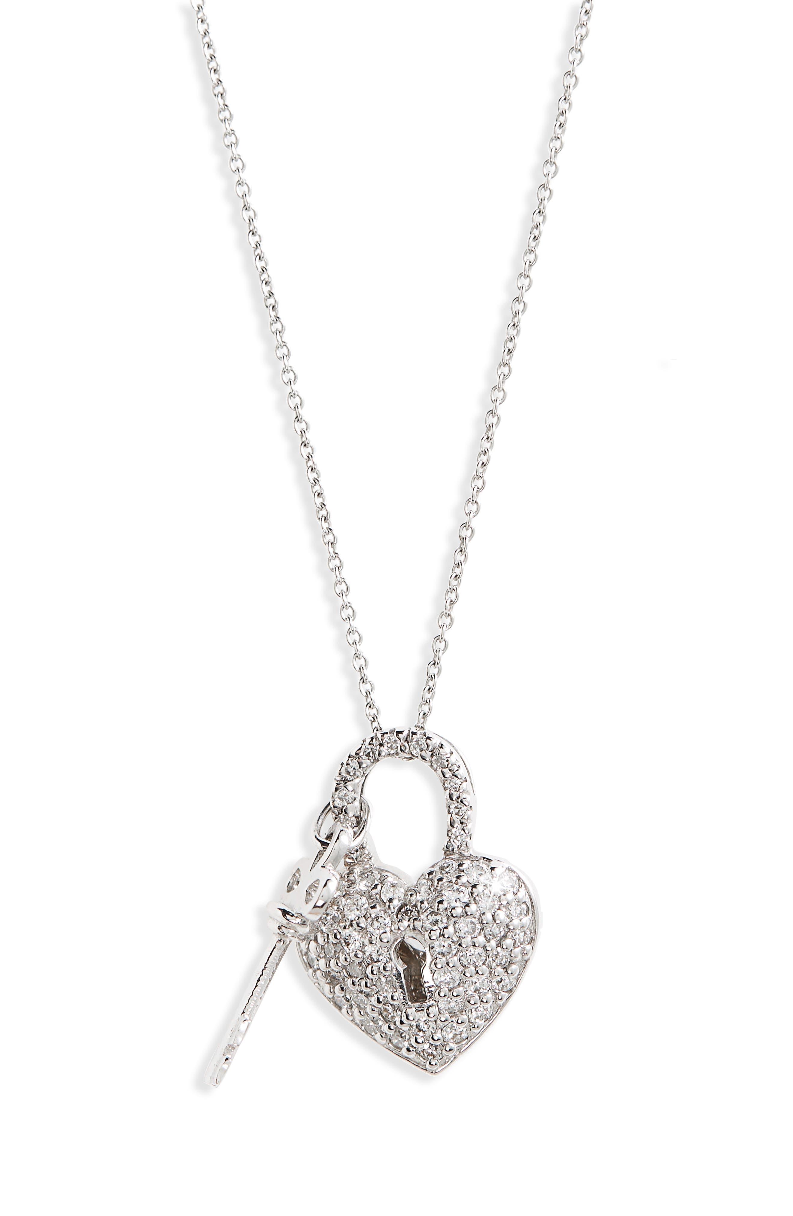 Diamond Heart Lock Pendant Necklace,                             Main thumbnail 1, color,                             White Gold