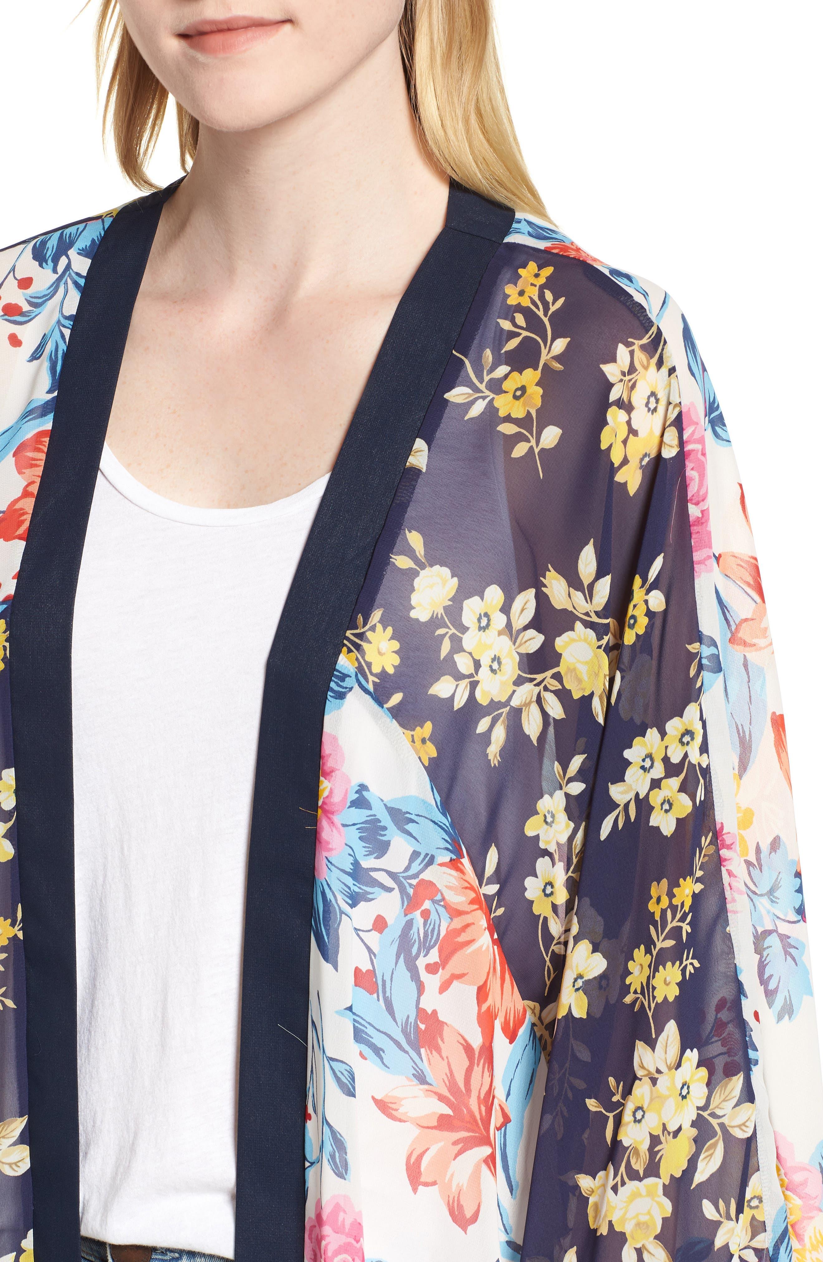 Mix Print Kimono,                             Alternate thumbnail 4, color,                             Multi Combo