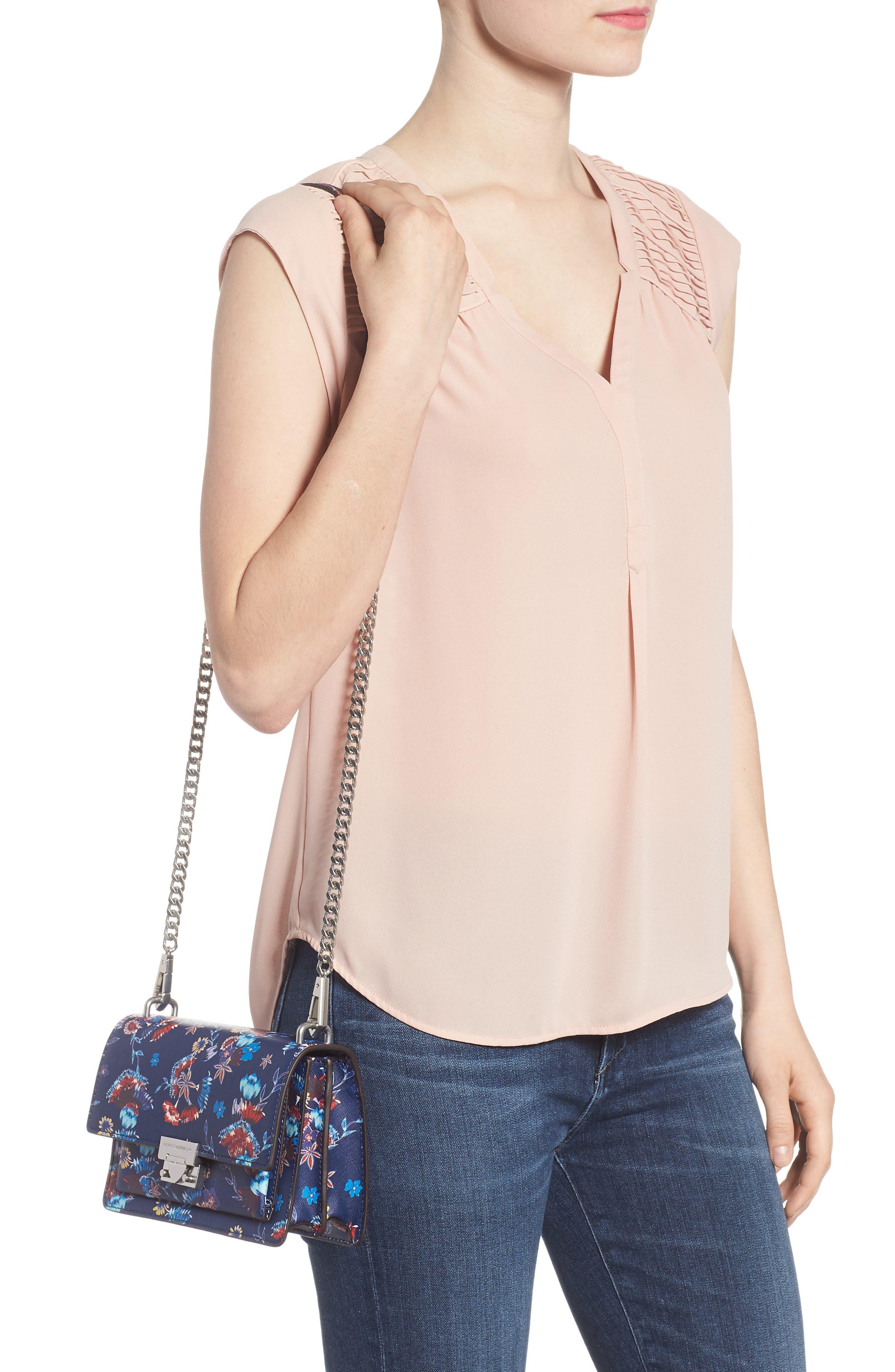 Small Christy Print Leather Shoulder Bag,                             Alternate thumbnail 2, color,                             Floral Blue
