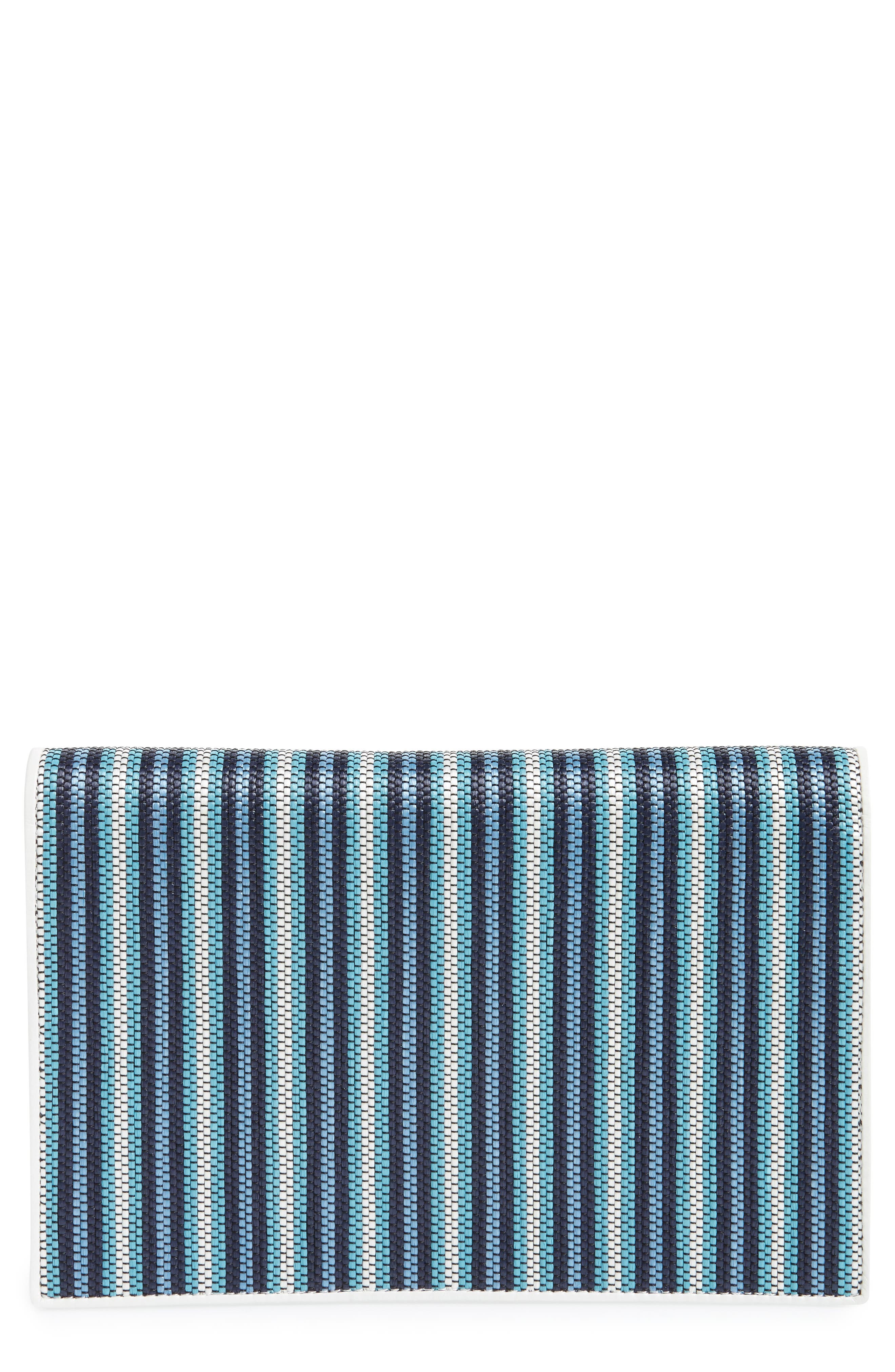 Large Raffia Flap Pouch,                             Main thumbnail 1, color,                             Navy Multi