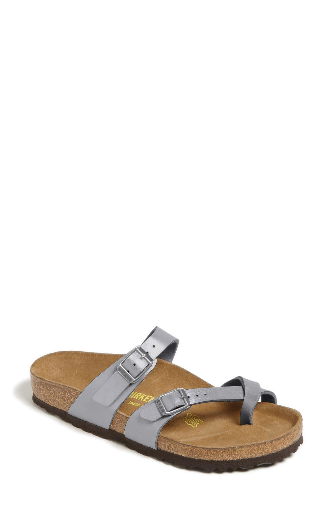 'Mayari' Birko-Flor<sup>™</sup> Sandal,                             Main thumbnail 1, color,                             Silver