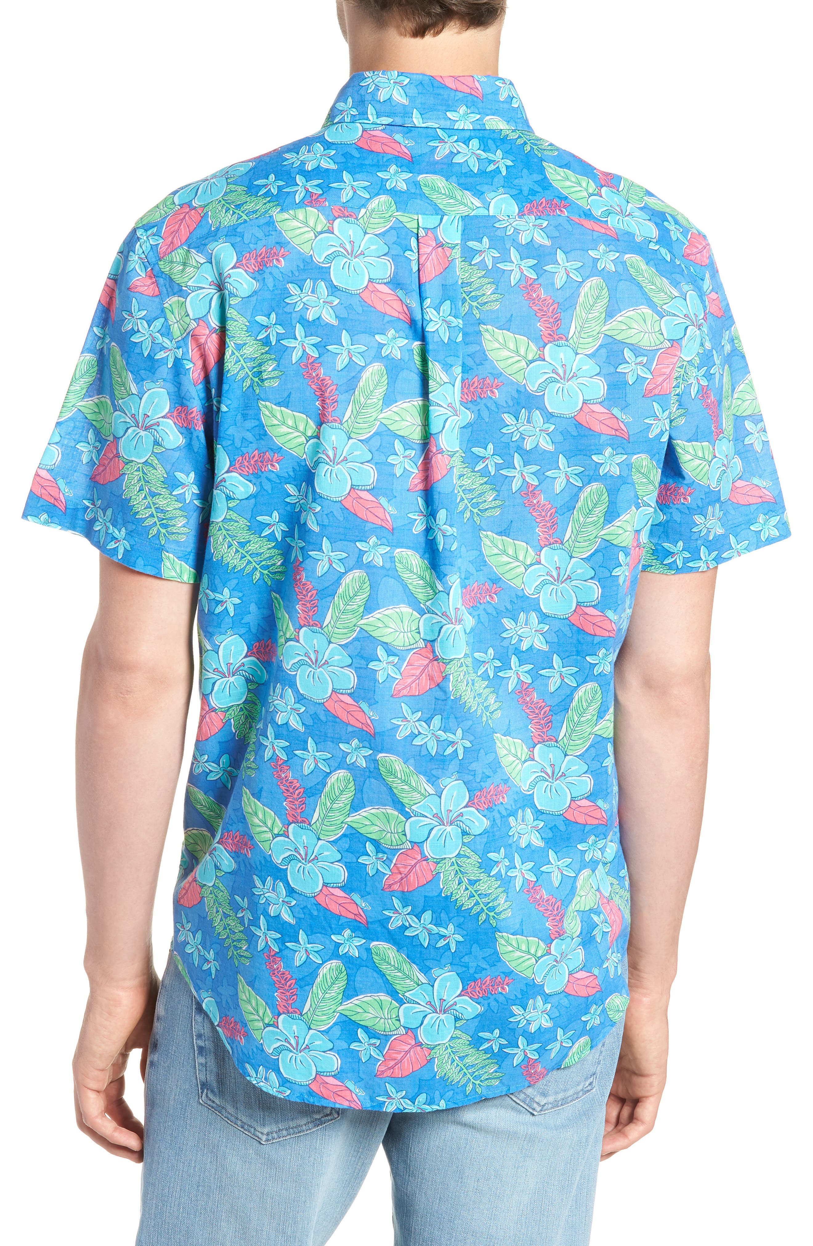 Cay Tucker Classic Fit Floral Sport Shirt,                             Alternate thumbnail 3, color,                             Hull Blue