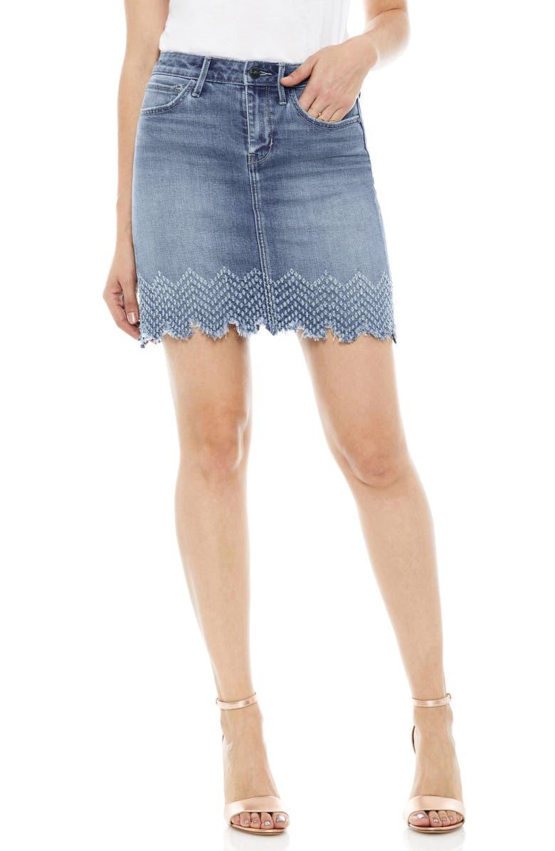 The Jenny Laser Hem Denim Miniskirt