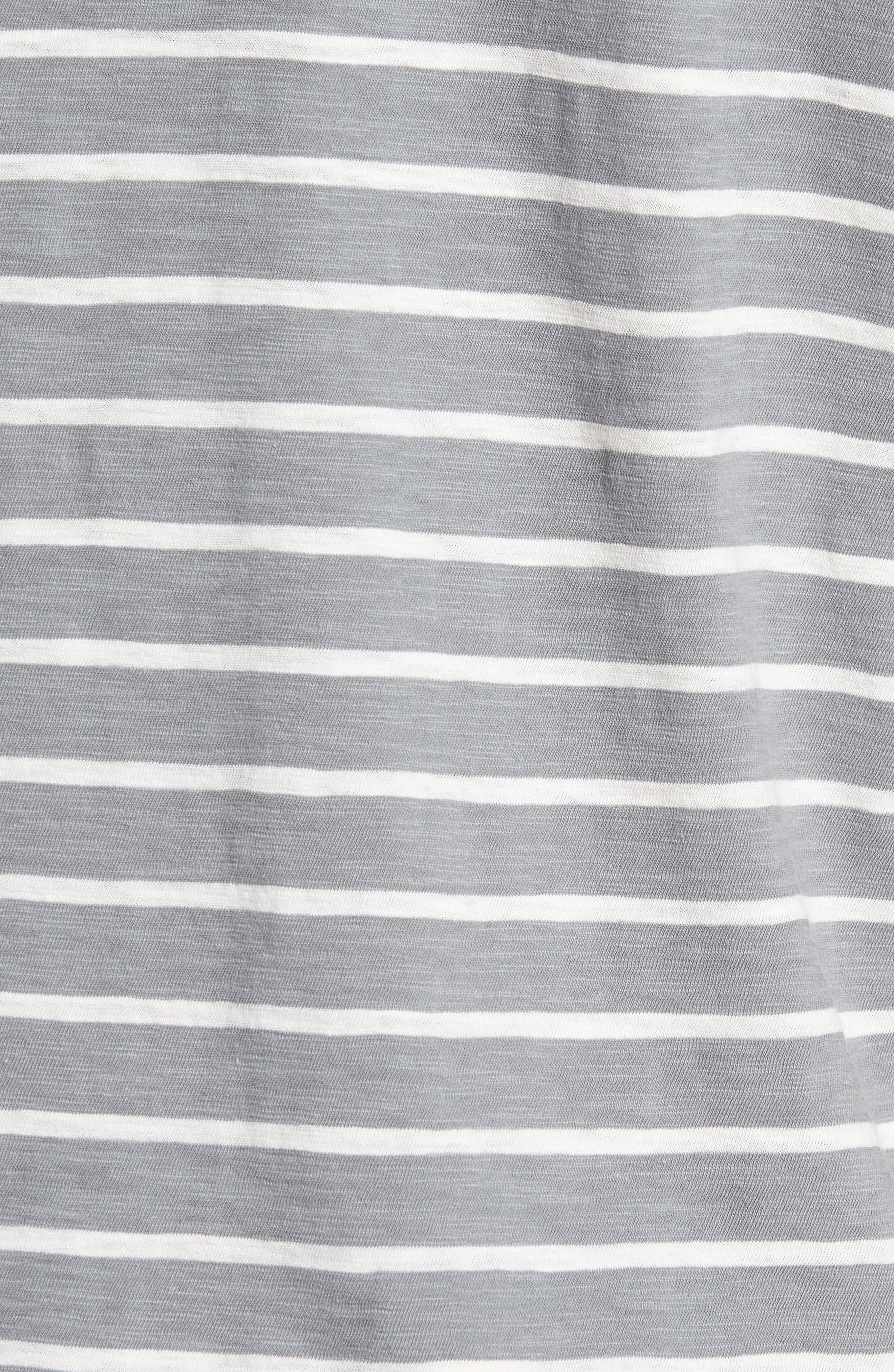 Slim Fit Stripe Henley T-Shirt,                             Alternate thumbnail 5, color,                             Sterling/ Seashell