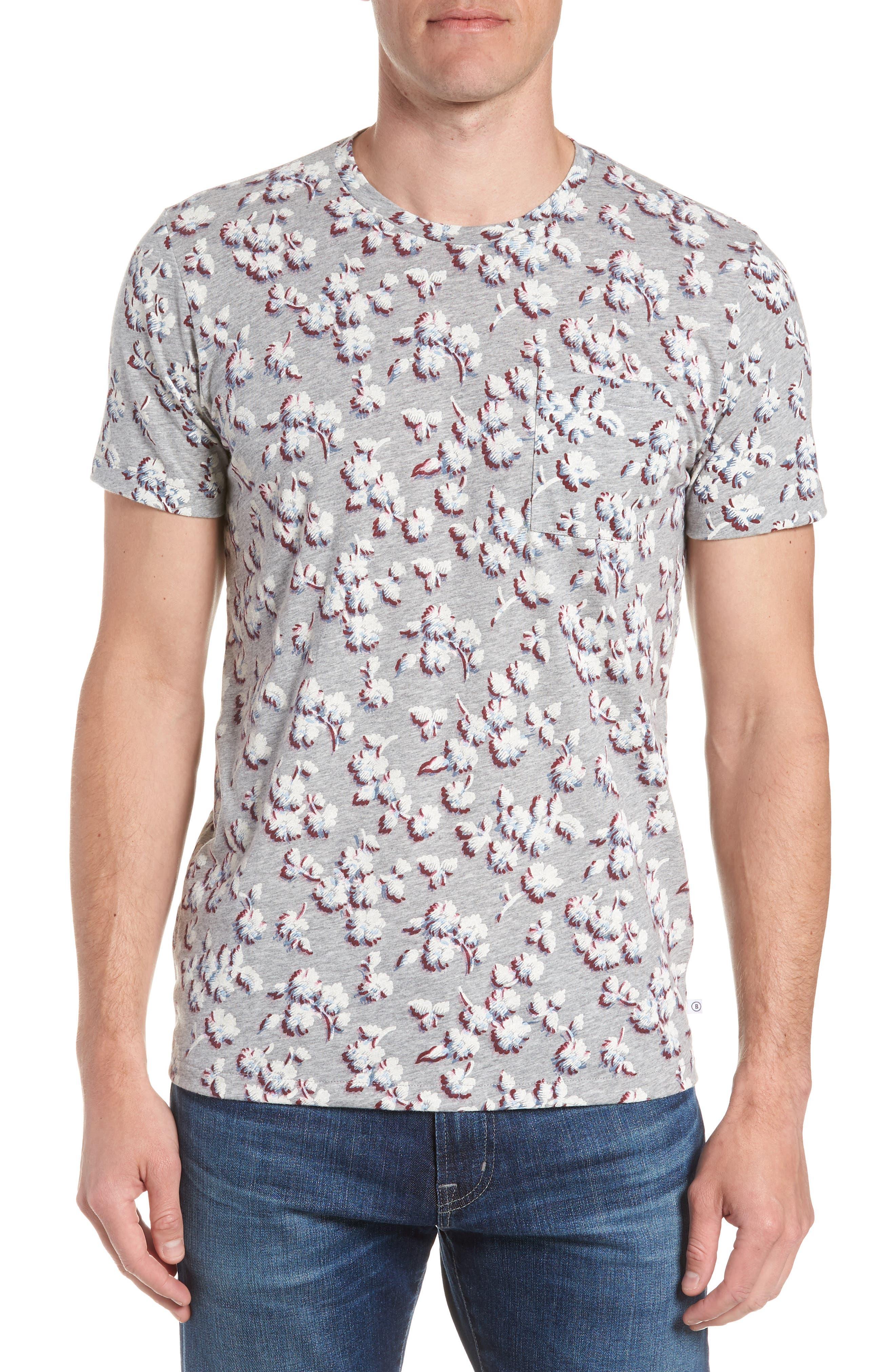 Slim Fit Floral Pocket T-Shirt,                             Main thumbnail 1, color,                             Grey/ La Rioja/ Blue