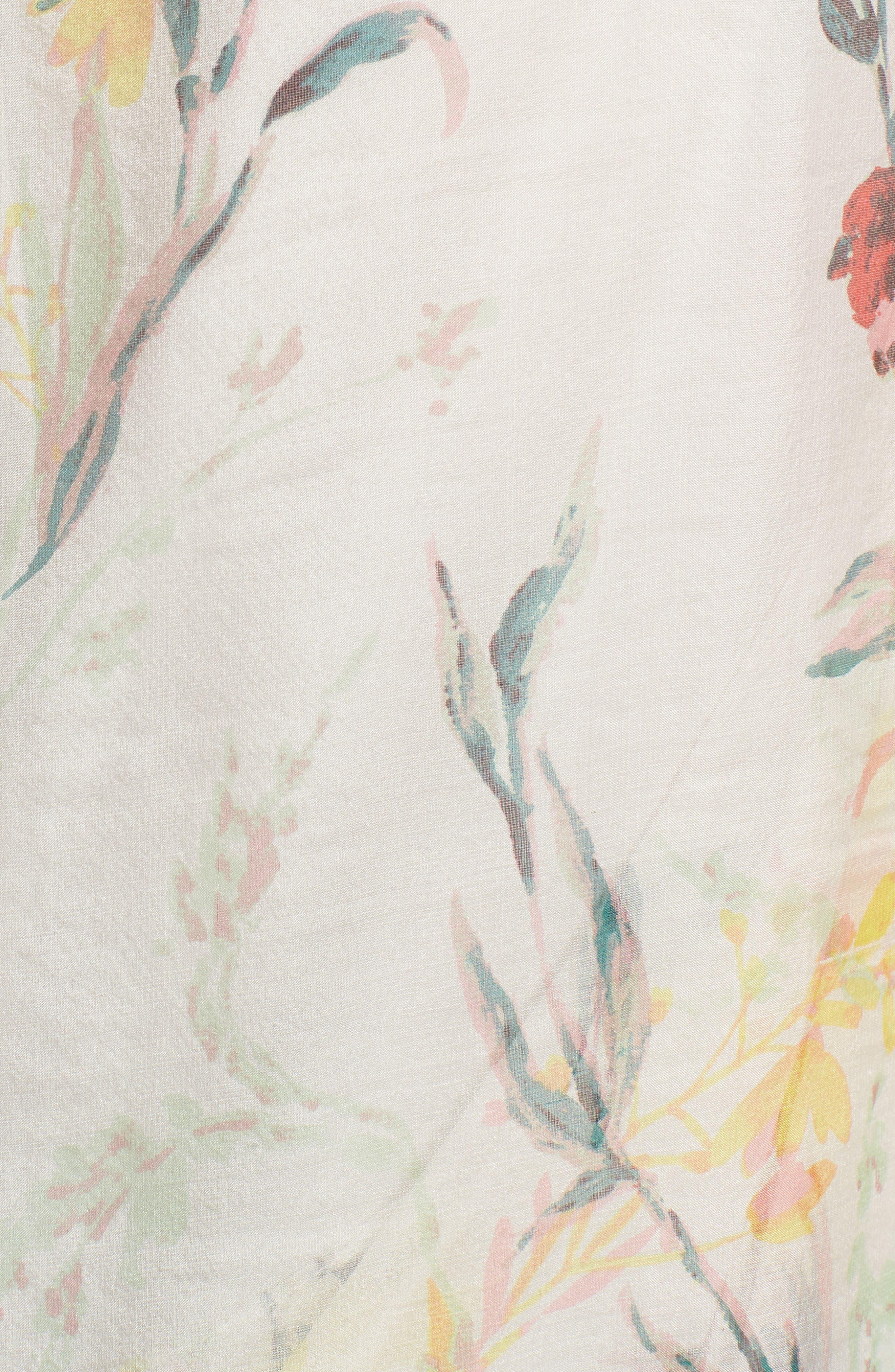 Print Silk Chiffon Oblong Scarf,                             Alternate thumbnail 5, color,                             White Savannah Birds