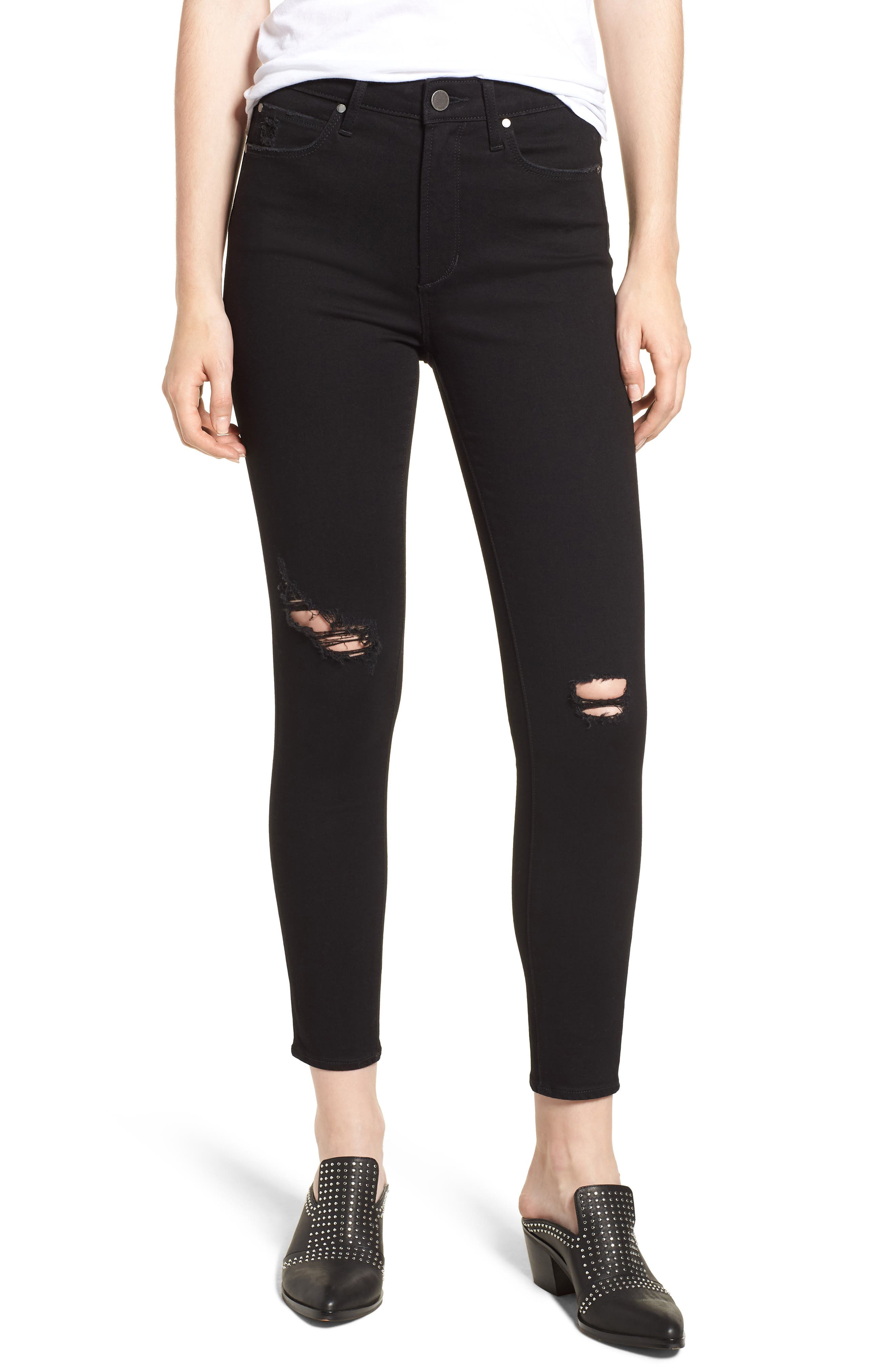 ARTICLES OF SOCIETY Heather Ripped High Rise Jeans in Peterson Decon Black
