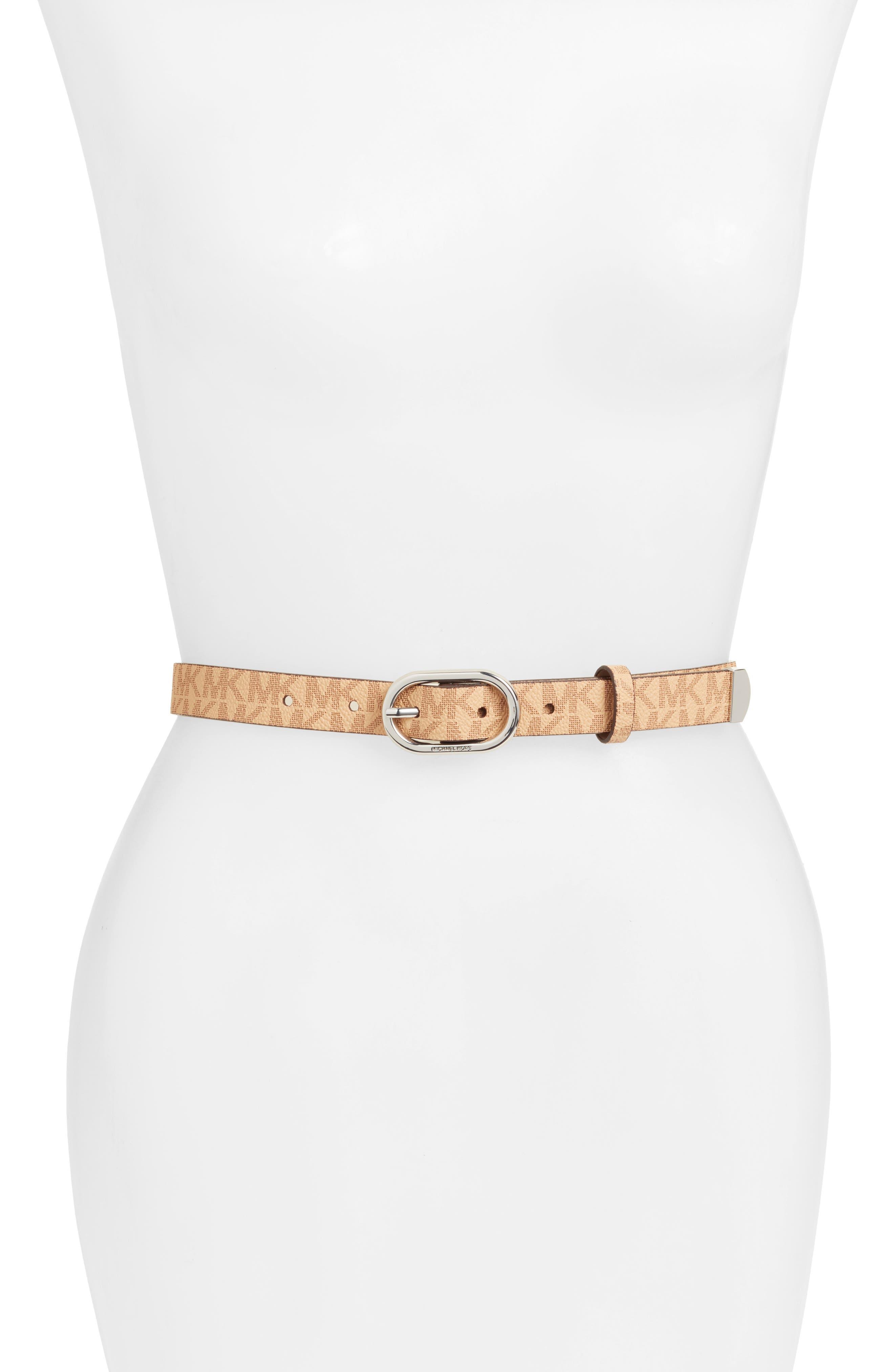 Skinny Logo Belt,                             Main thumbnail 1, color,                             Acorn