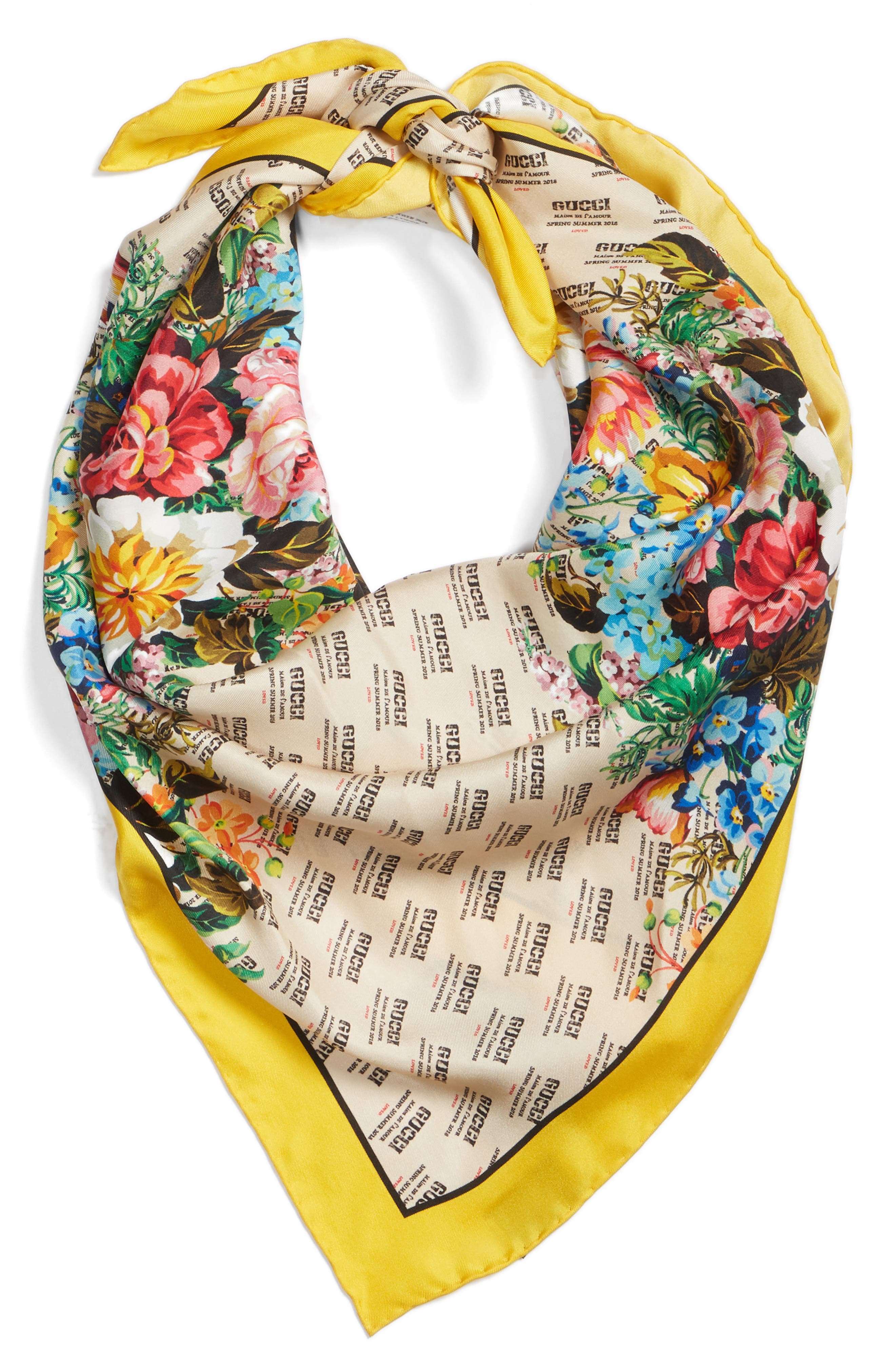 Night Flower Stripes Foulard Silk Twill Scarf,                             Alternate thumbnail 3, color,                             Ivory/ Yellow