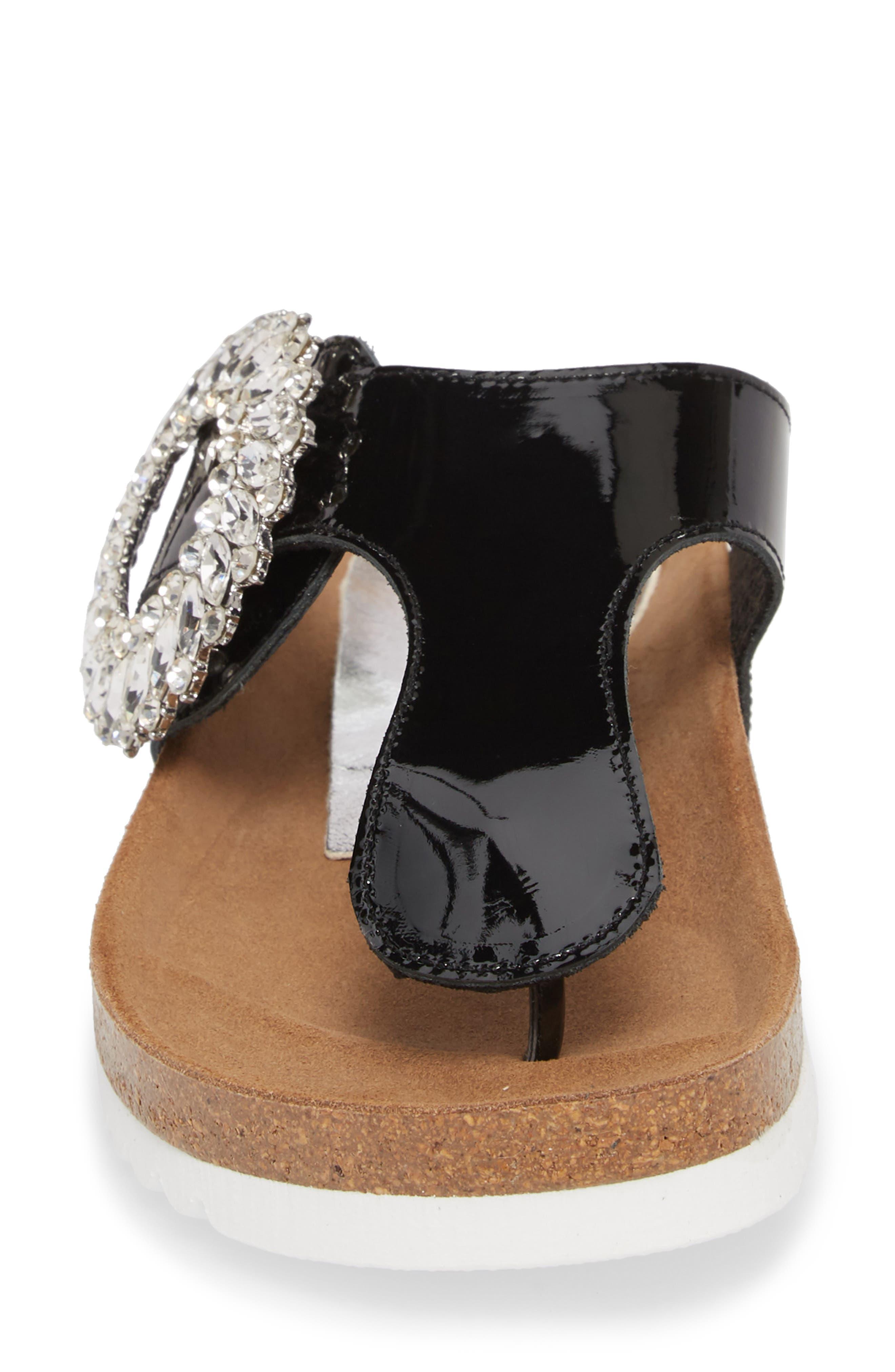 Madeira Embellished T-Strap Sandal,                             Alternate thumbnail 4, color,                             Black Patent/ Black Silver