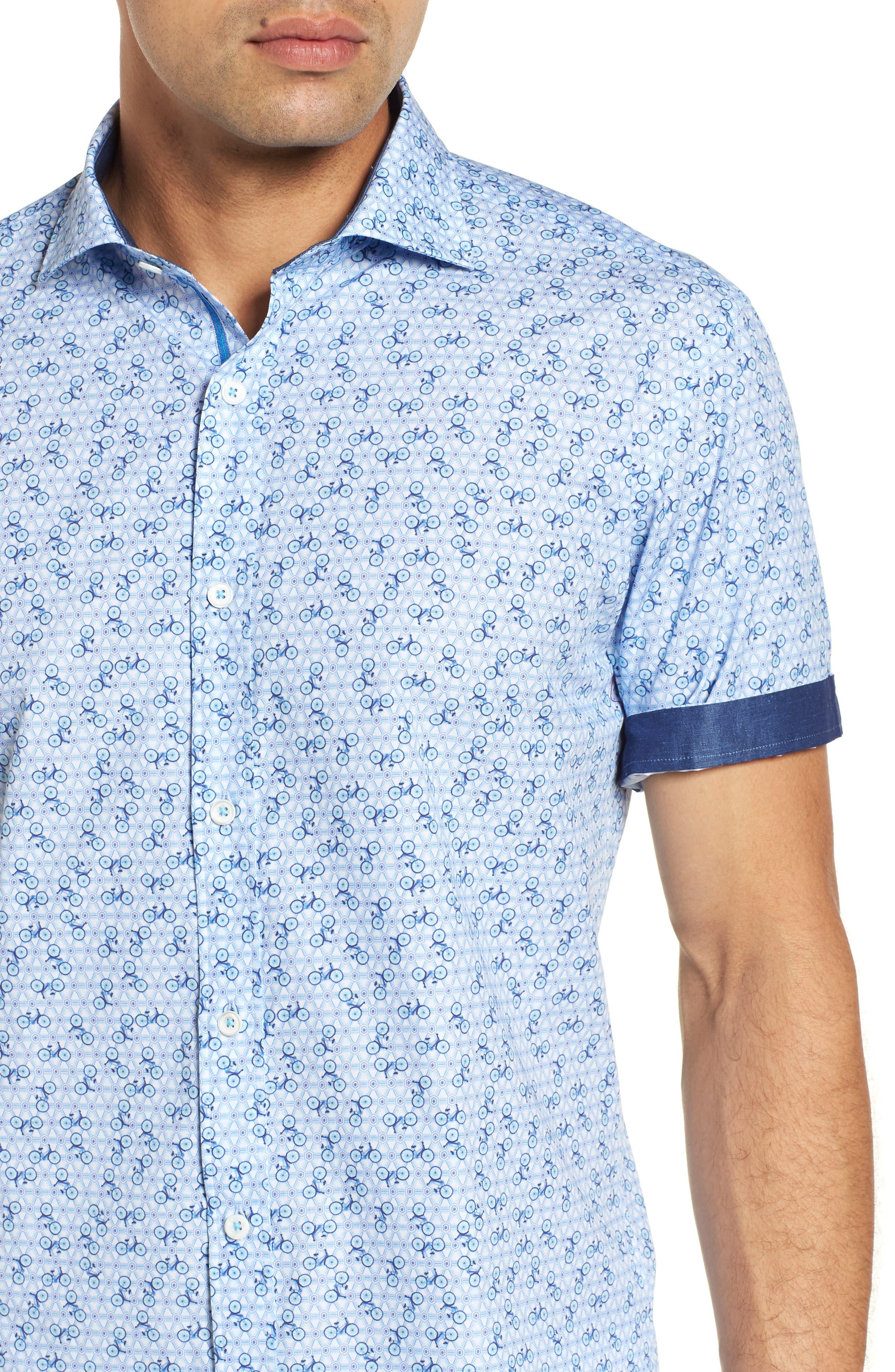 Shaped Fit Print Sport Shirt,                             Alternate thumbnail 2, color,                             Ice Blue