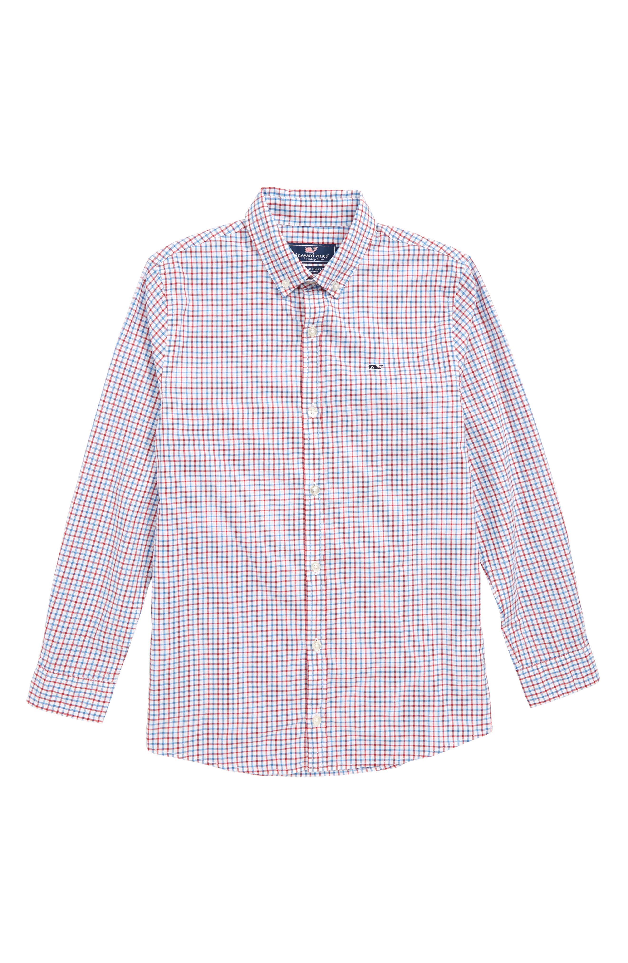 Clark Cove Check Whale Shirt,                         Main,                         color, Lighthouse Red