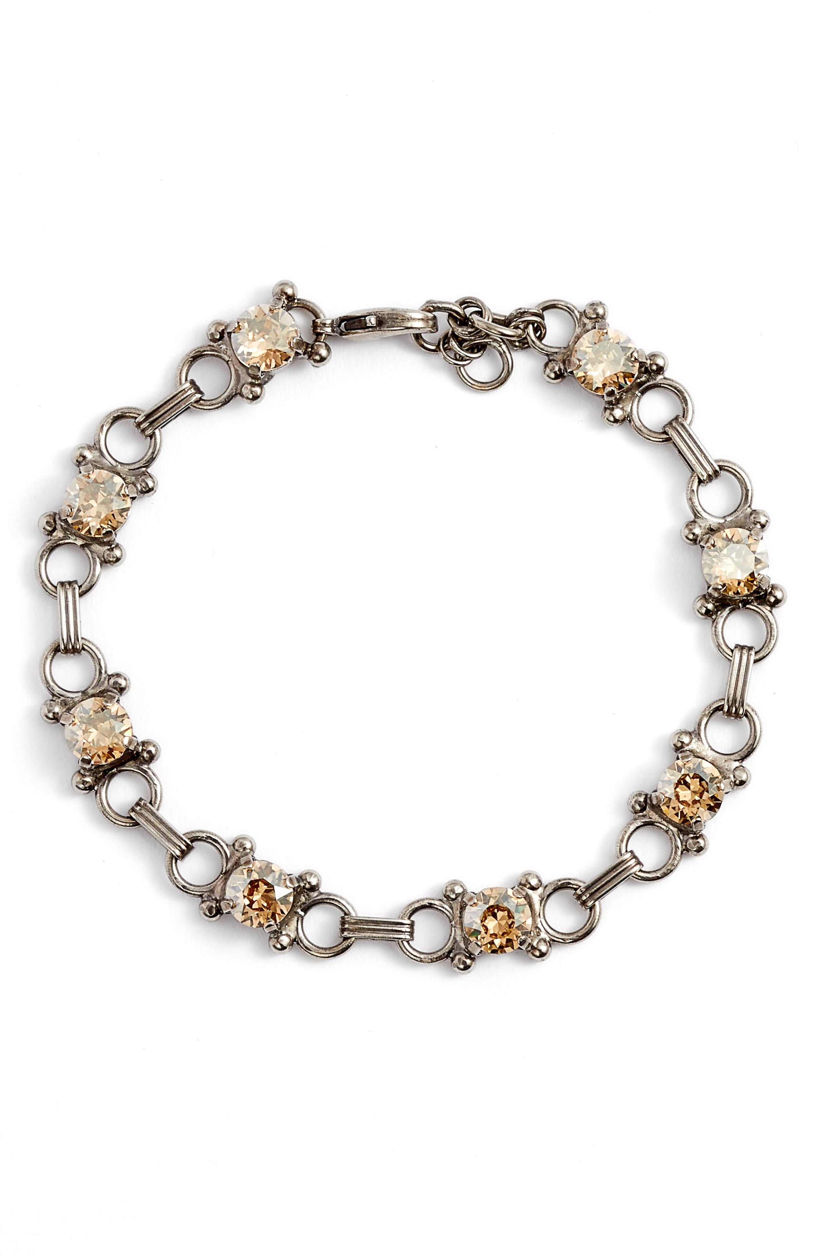Mini Eyelet Line Crystal Bracelet,                             Main thumbnail 1, color,                             Tan