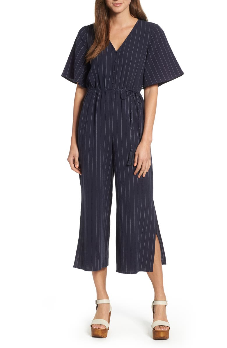 Stripe Flutter Sleeve Jumpsuit