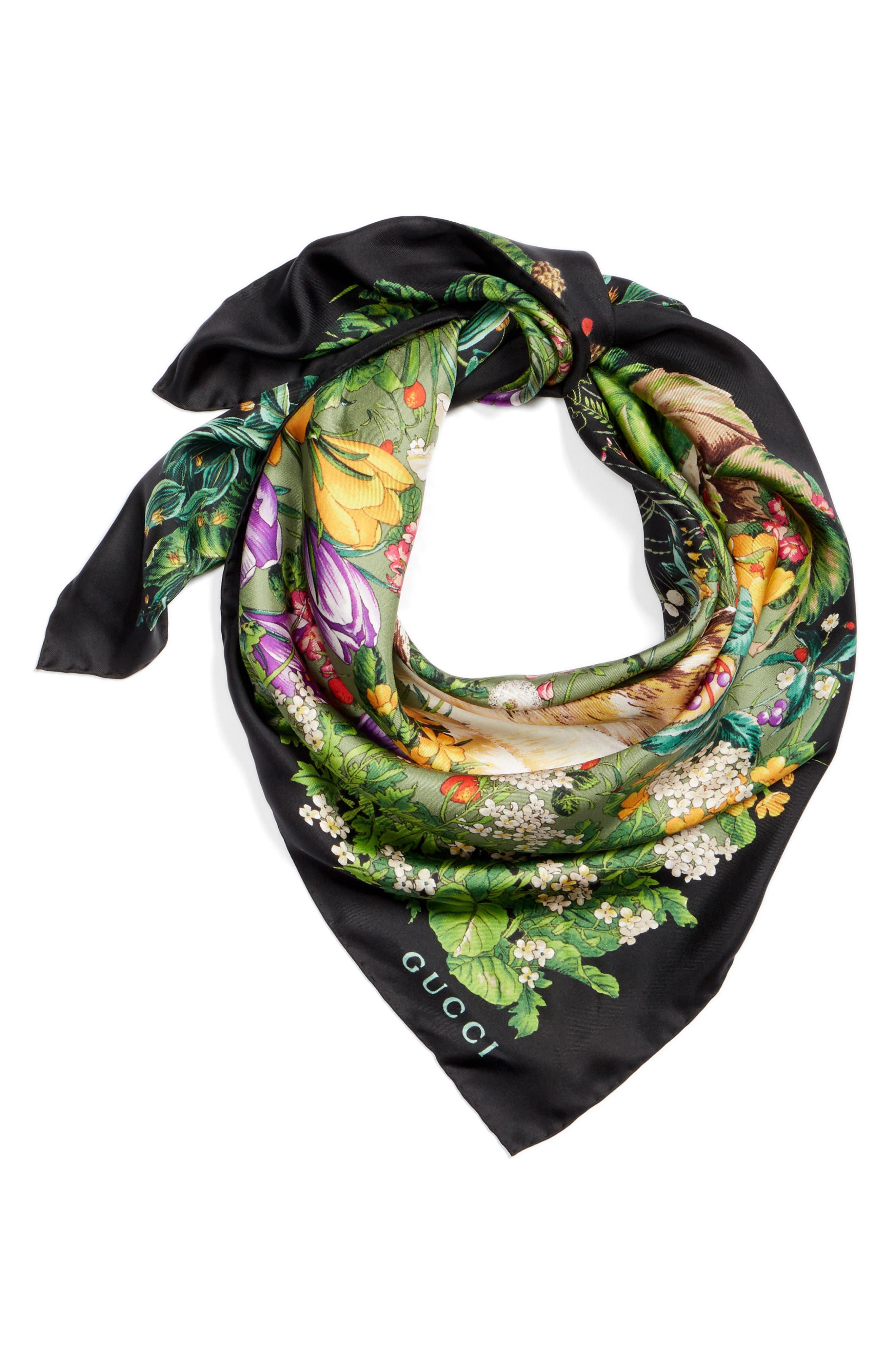 Flower Deer Foulard Silk Twill Scarf,                             Alternate thumbnail 3, color,                             Black/ Multicolor