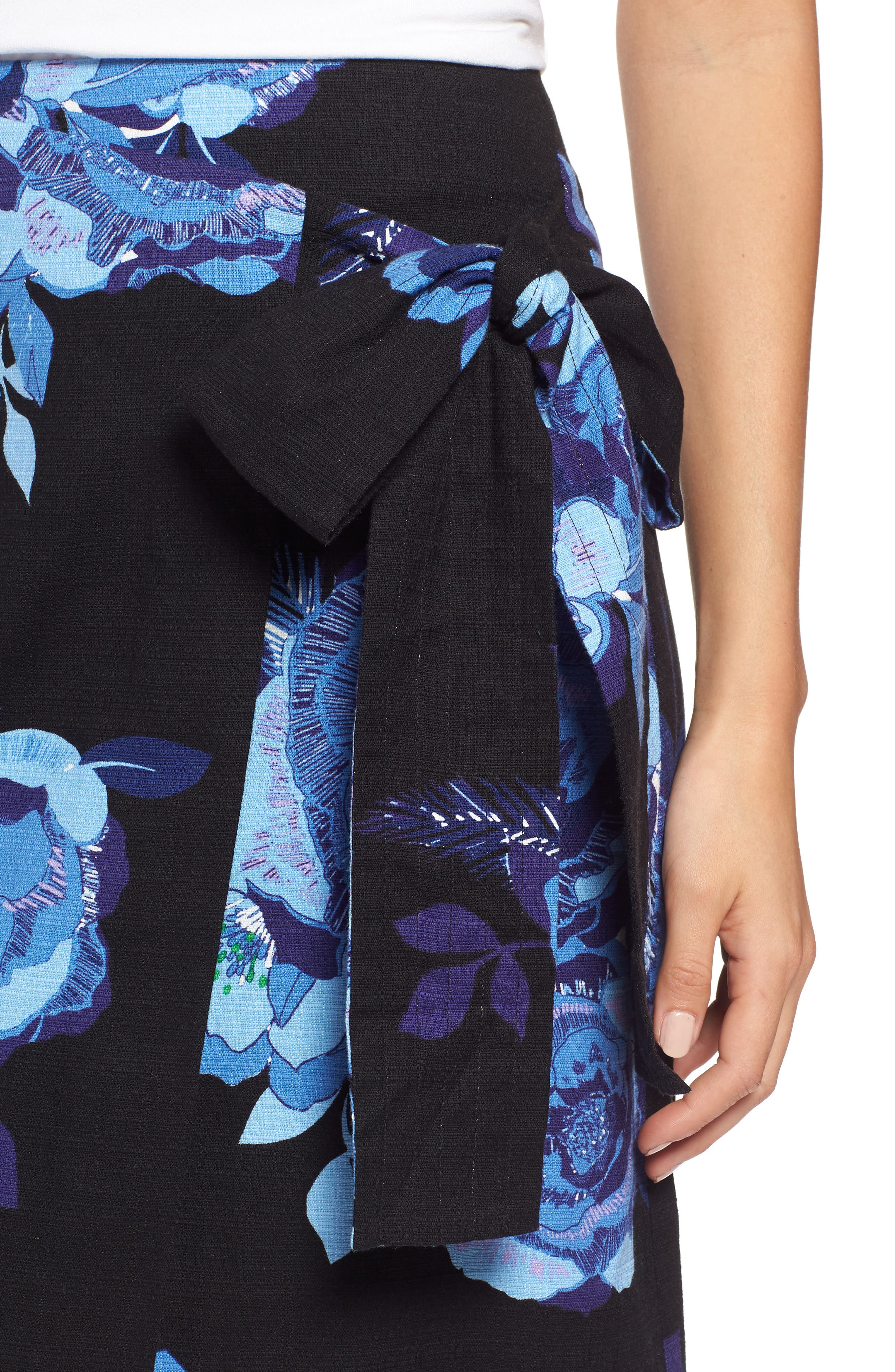 Floral Cotton Blend Wrap Skirt,                             Alternate thumbnail 4, color,                             Black- Blue Rose Print