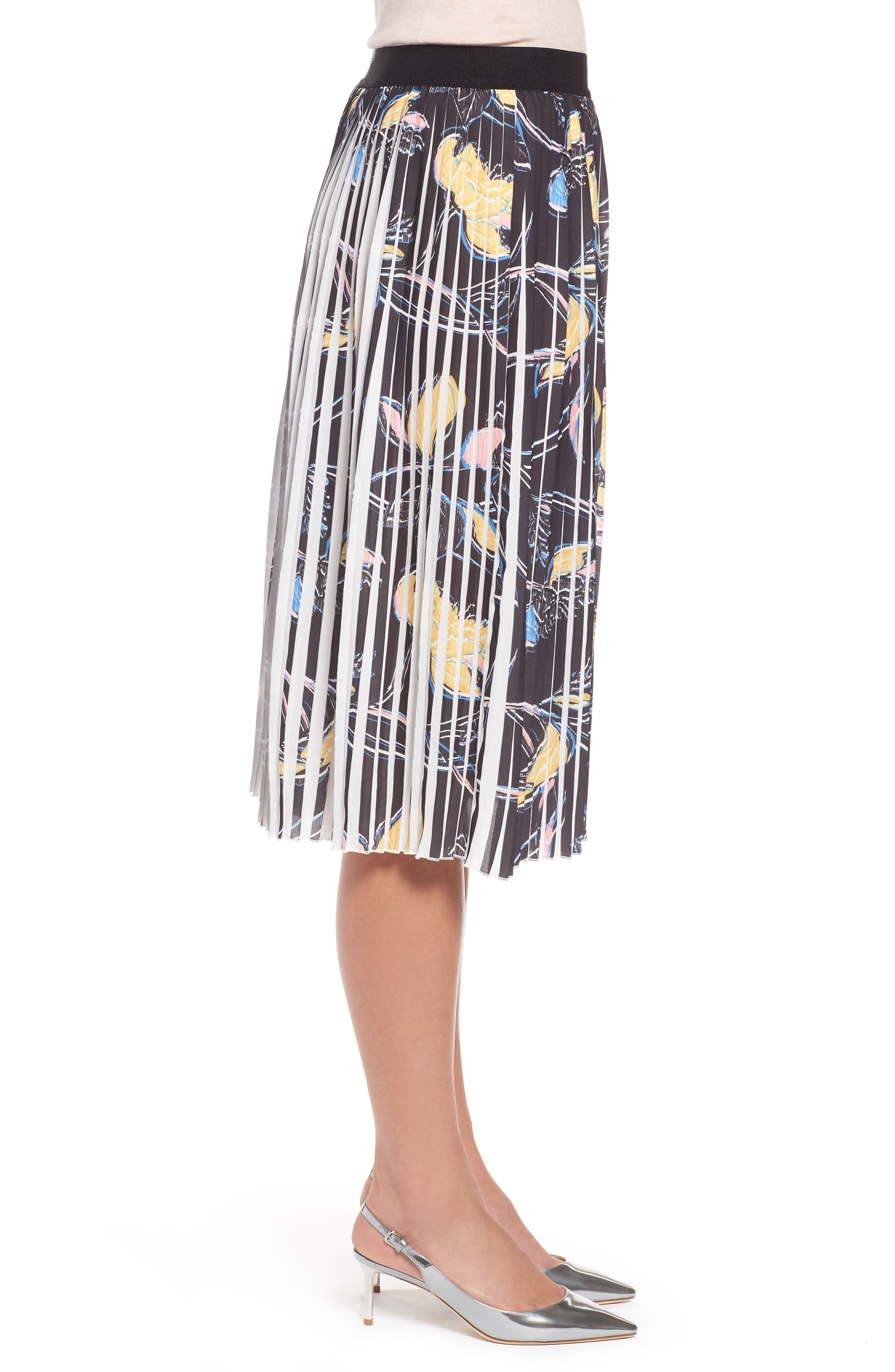 Pleated Print Skirt,                             Alternate thumbnail 3, color,                             Black- Yellow Floral